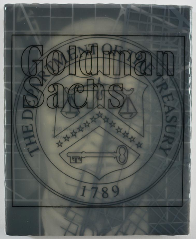"""Goldman States Treasury: Henry Paulson"" acrylic, screen print and medium on canvas over panel, 10""x8"" 2017"