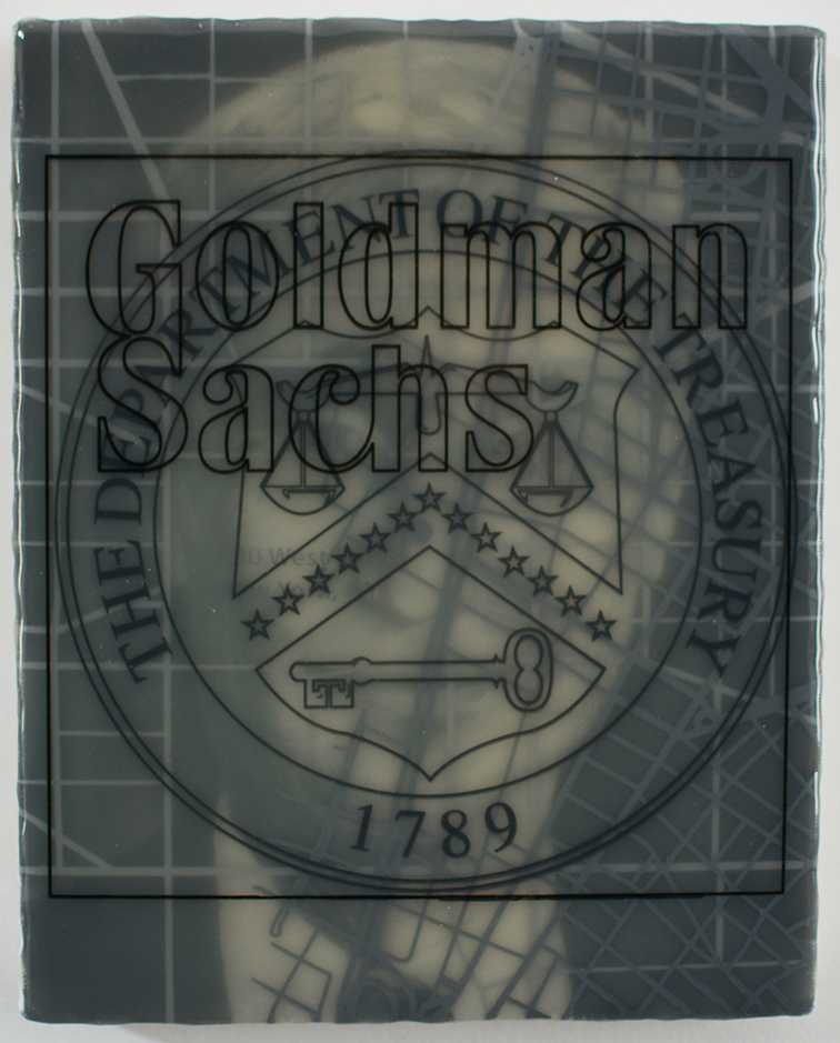 """Goldman States Treasury: Robert Rubin"" acrylic, screen print and medium on canvas over panel, 10""x8"" 2017"