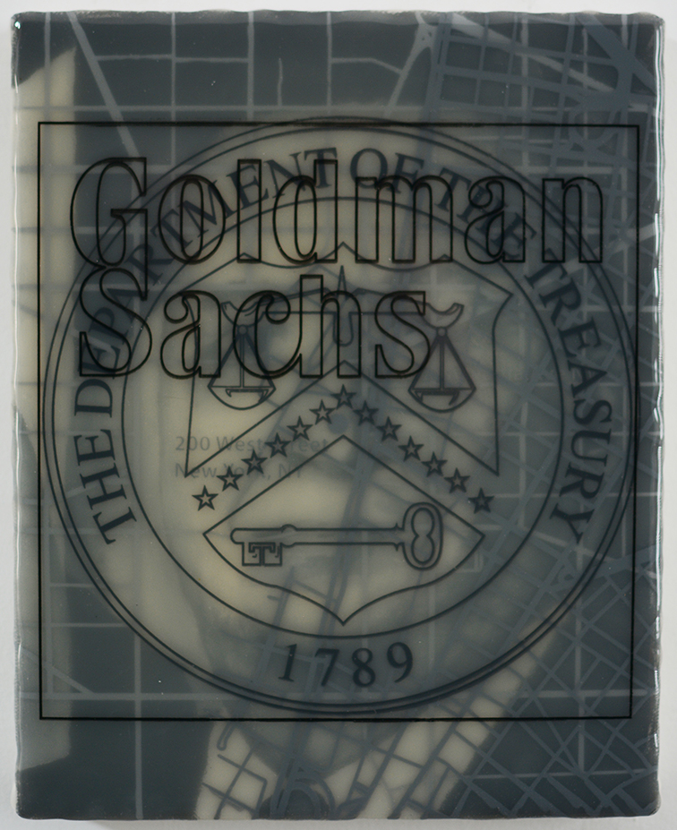 """""""Goldman States Treasury: Lawrence Summers"""" acrylic, screen print and medium on canvas over panel, 10""""x8"""" 2017"""