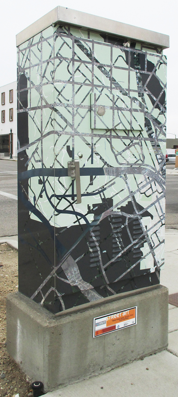 """Sister Cities: Boise, Gernika, Chita"" vinyl on traffic box, Boise, Idaho, 2015"