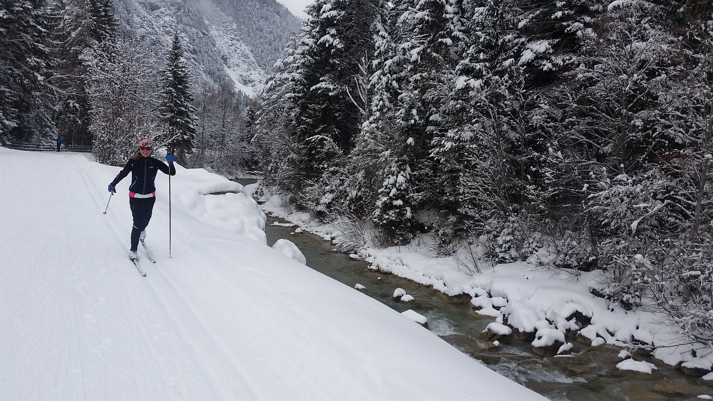 Skiing along the Leutascher Ache stream in Leutasch