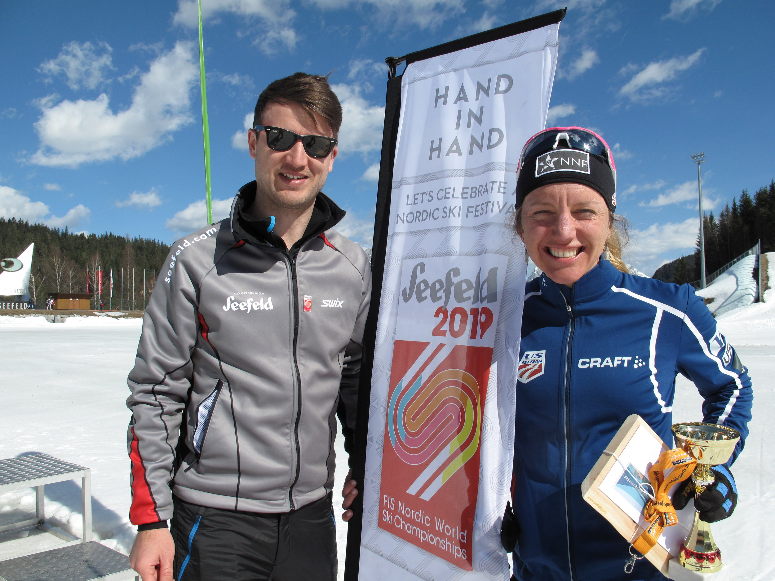 Elias Walser, Seefeld Tourism managing director, with Olympian Caitlin Gregg