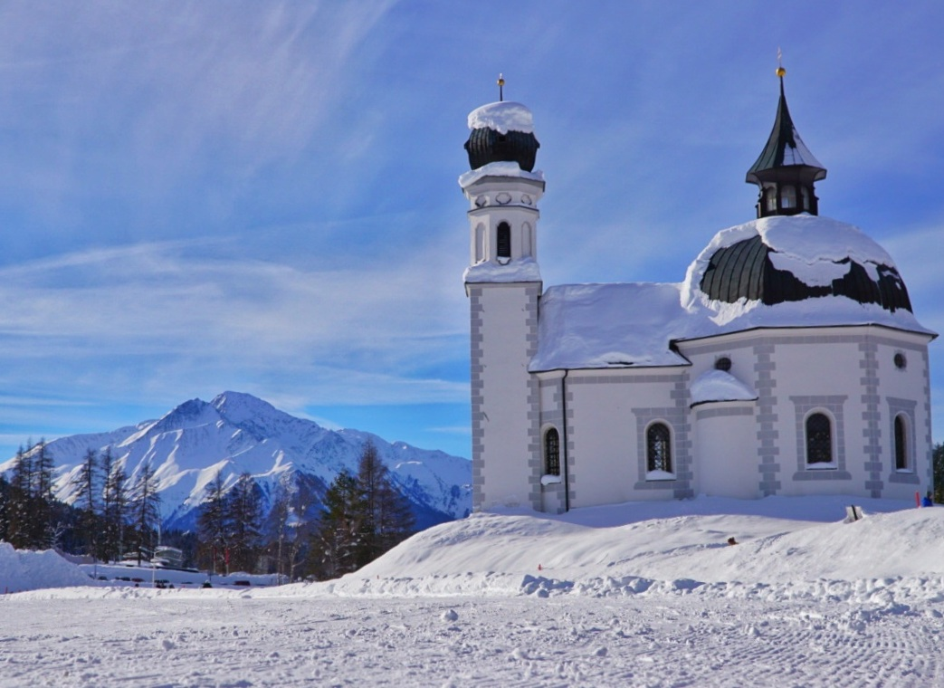 Seekirchl, the iconic church at the trailhead in Seefeld in Tirol, Austria
