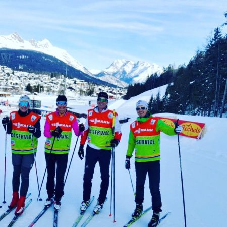 Left to right: Mikaela Sundbaum (assistant technical delegate), Annmari Viljanmaa (TD), Christian Krepper (chief of competition), and Thomas Unterfrauner (chief of course) at the 2018 World Cup in Seefeld, Austria.