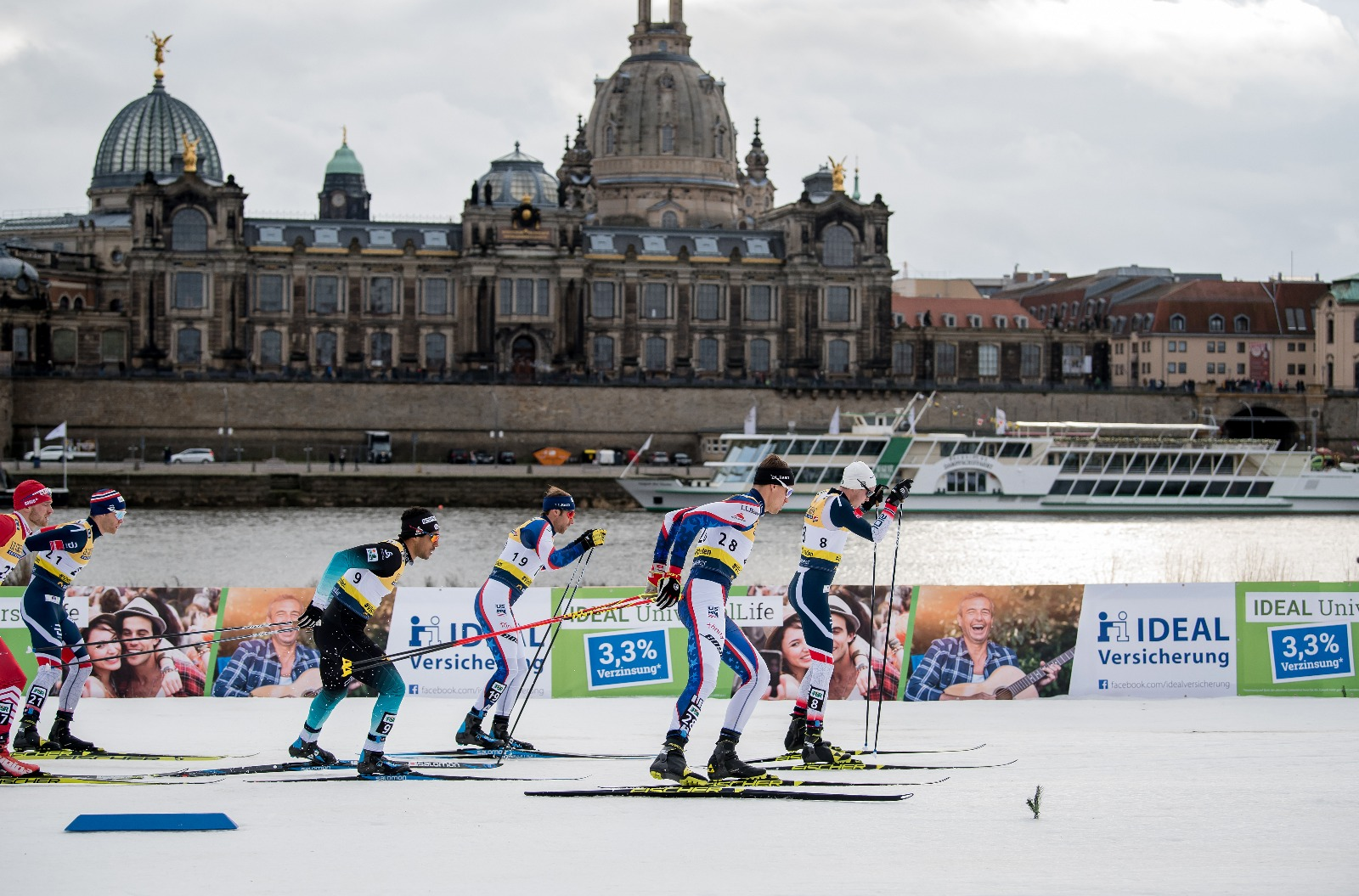 Andy Newell (19) and Kevin Bolger (28) compete in the 2019 Dresden City Sprint World Cup