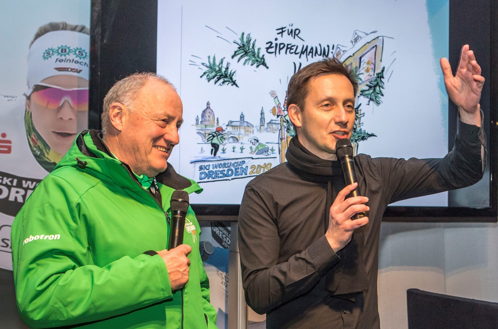Dresden World Cup Chief of Competition Georg Zipfel (L) and Co-Director Torsten Püschel talk about the event.