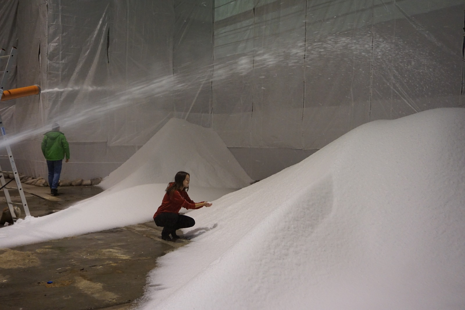 Indoor snowmaking means no moisture is lost to wind or sun