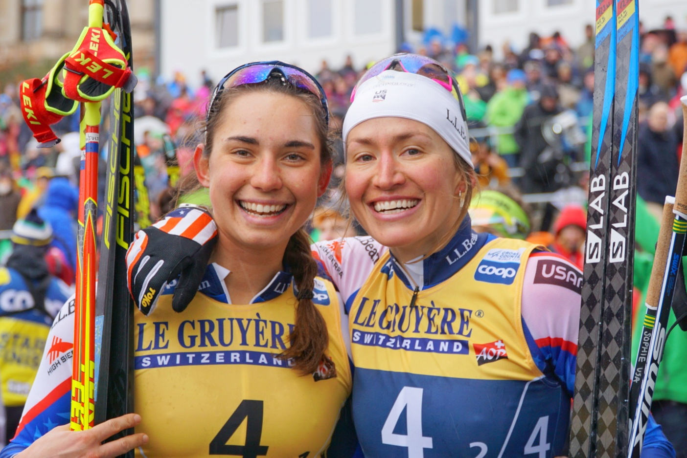 Julia Kern (L) and Sophie Caldwell after finishing fourth place in the team sprint.