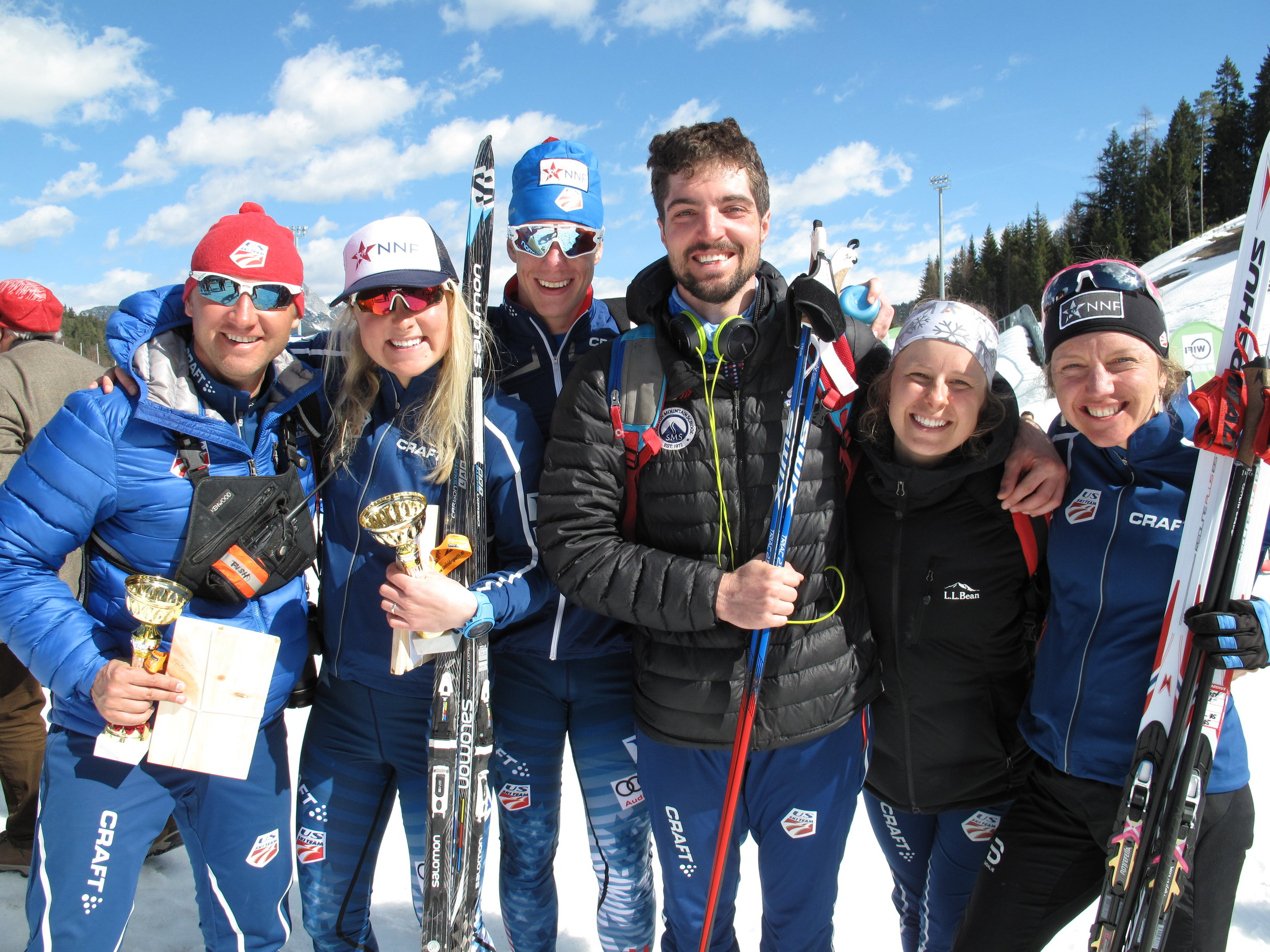 Coach Bryan Fish, along with athletes on the National Nordic Foundation sponsored Europa Cup trip in Seefeld in March of 2017.
