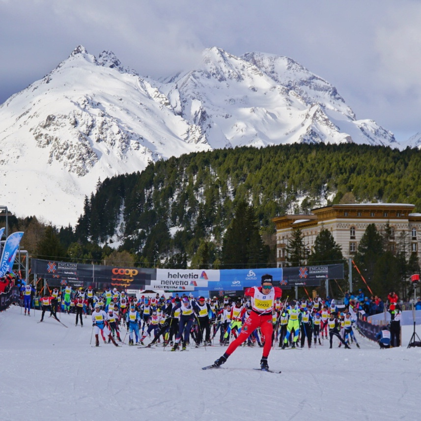 The start of the Engadin Ski Marathon in St Moritz, Switzerland