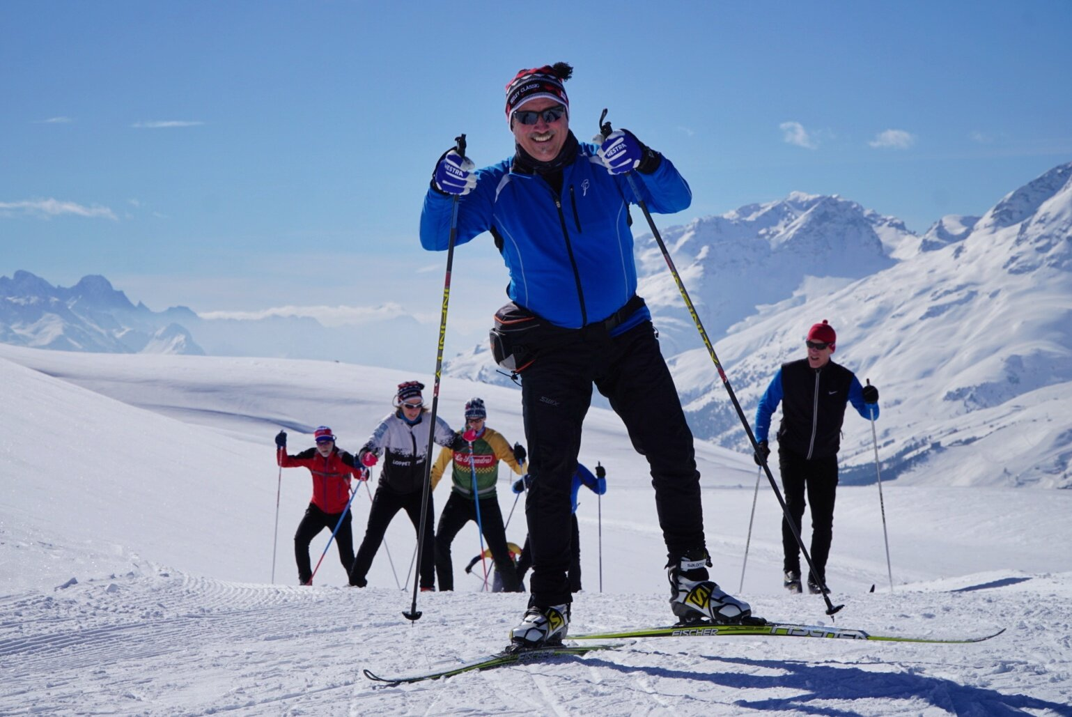 On the Engadin trip, guests skied in the 50th anniversary of the Engadin Worldloppet in St Moritz, Switzerland, plus many other trails in the week before the event.