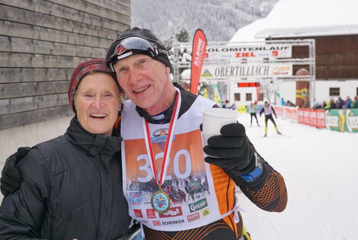 Hayward locals Jane & Mike Mandli, shortly after finishing the Dolomitenlauf in Austria. Jane got a podium in her age group and had time to put on warm clothes before cheering husband Mike across the finish line.