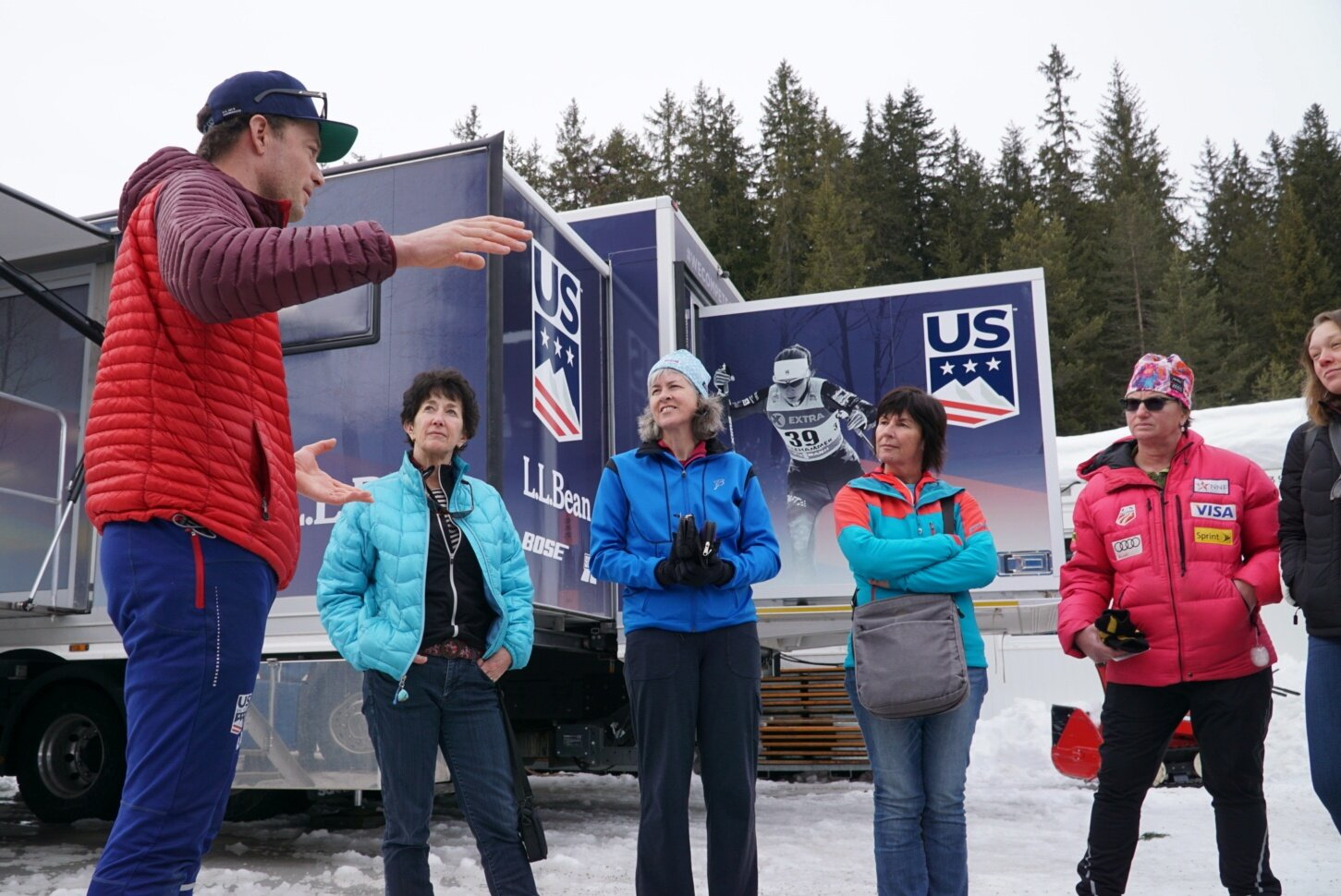 At the Seefeld World Cup, the last event before the 2018 Olympic Games, guests got a behind the scenes tour of the US Ski Team wax trailer with women's team head coach Matt Whitcomb.