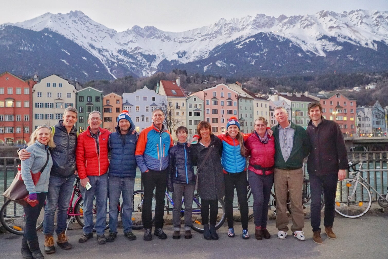 Skiers take some time away from the race trails to explore the Olympic city of Innsbruck, Austria.