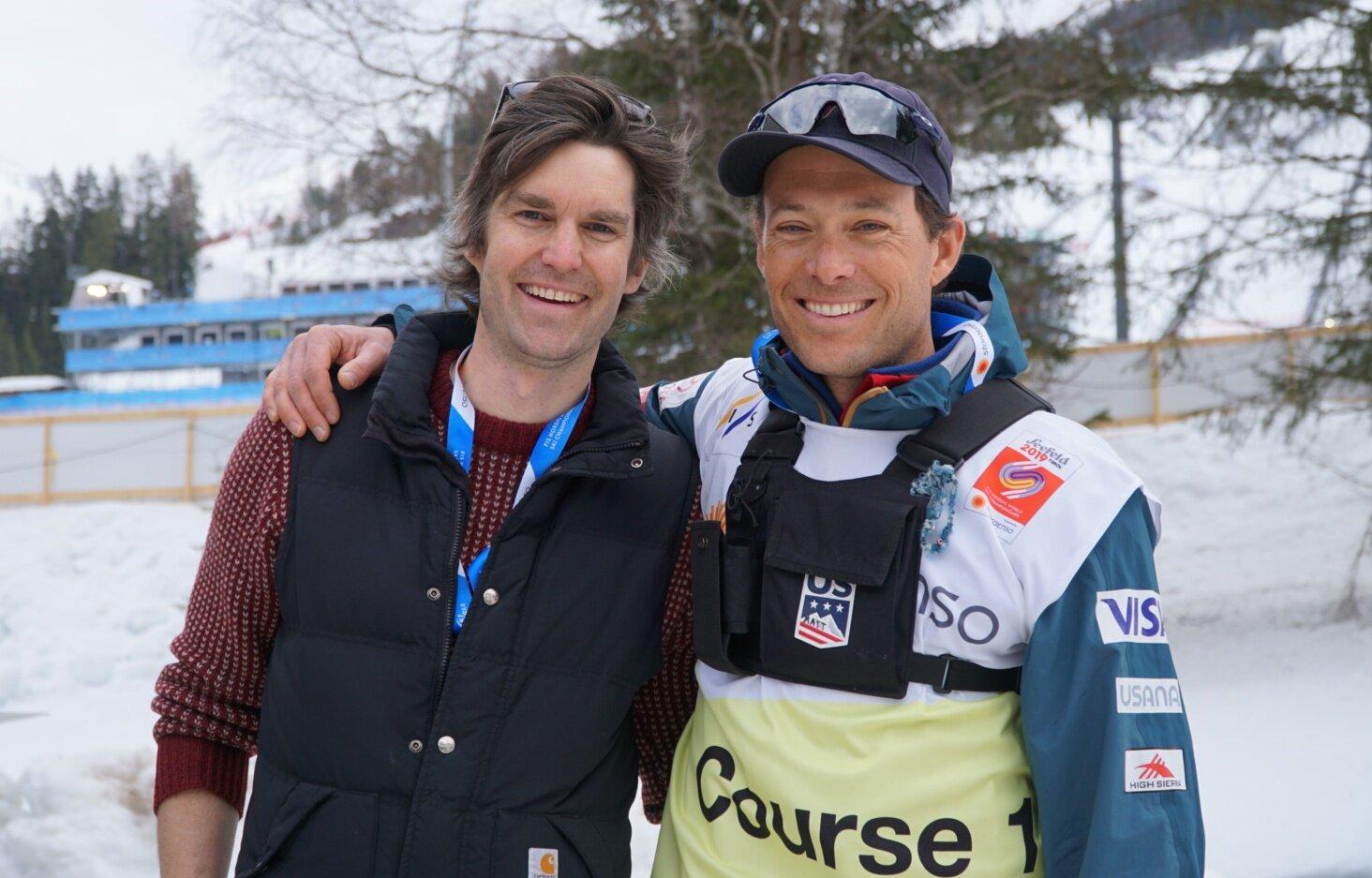 Garrott Kuzzy and US Ski Team coach Matt Whitcomb at the 2019 World Championships in Seefeld