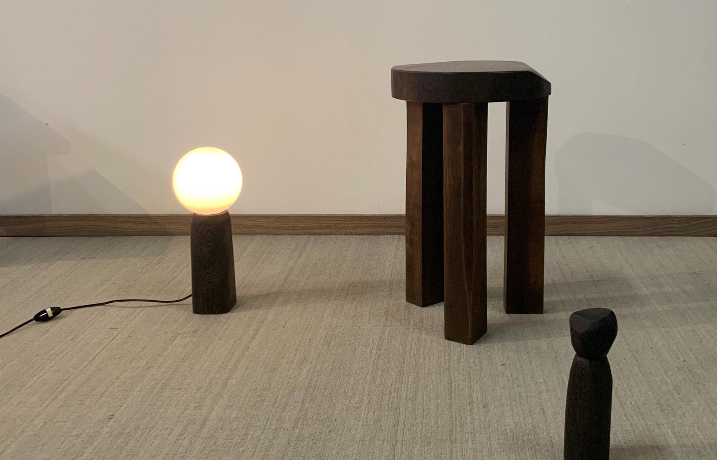 Atelier365 solid wood stool tabouret lamp poivrier
