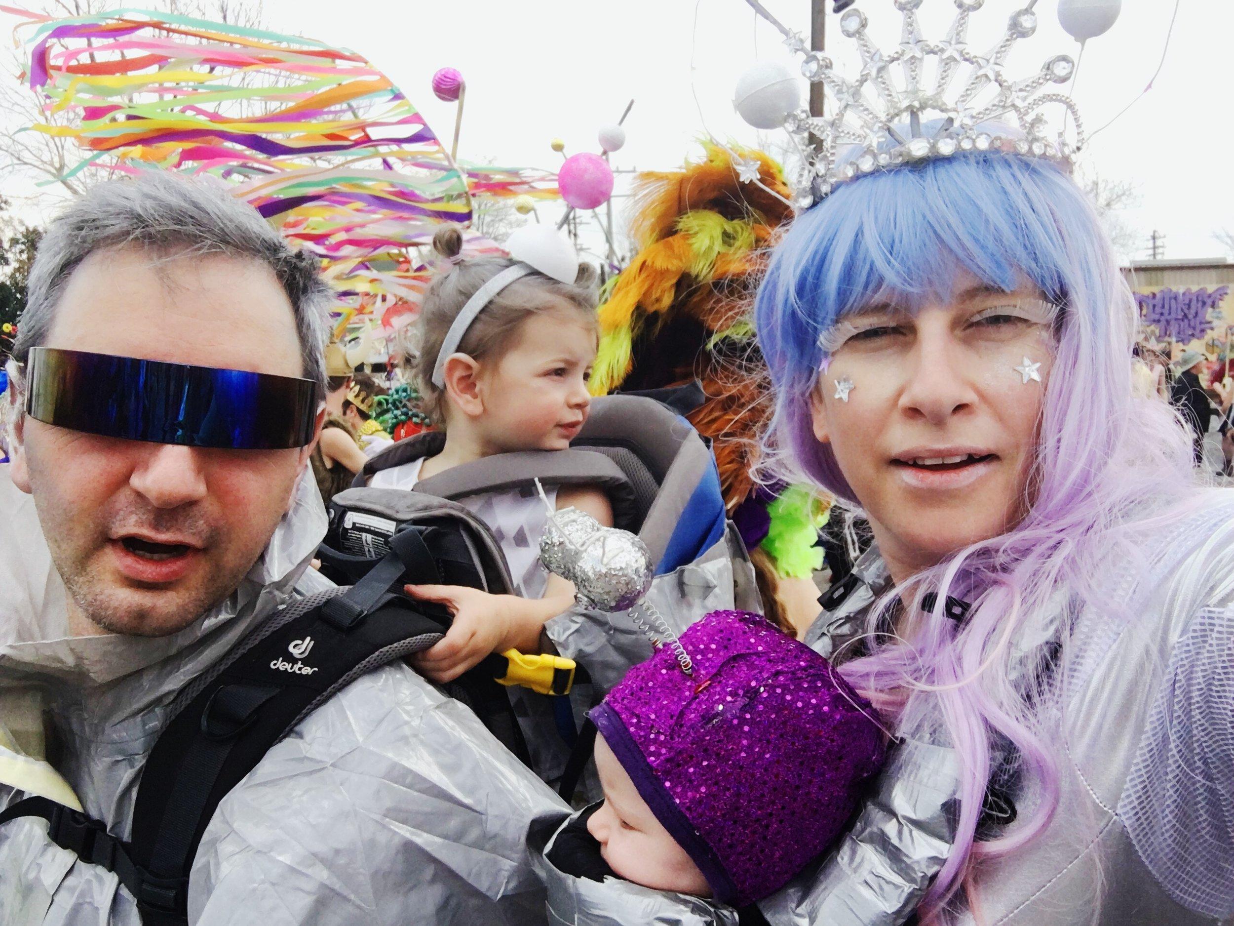Elizabeth and her krewe, Mardi Gras 2017