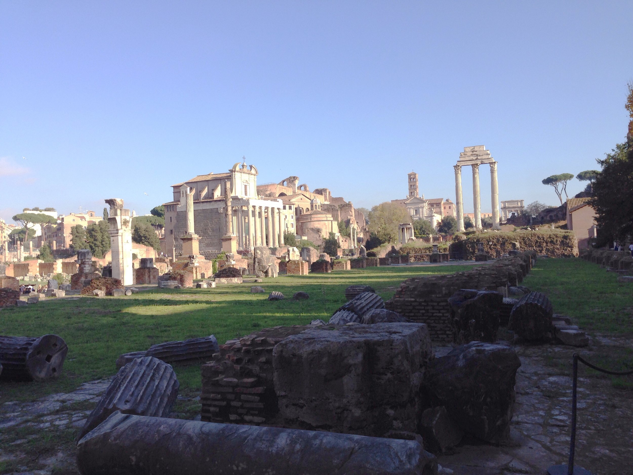 View of the Roman Forum, looking toward the temple of Castor and Pollux.