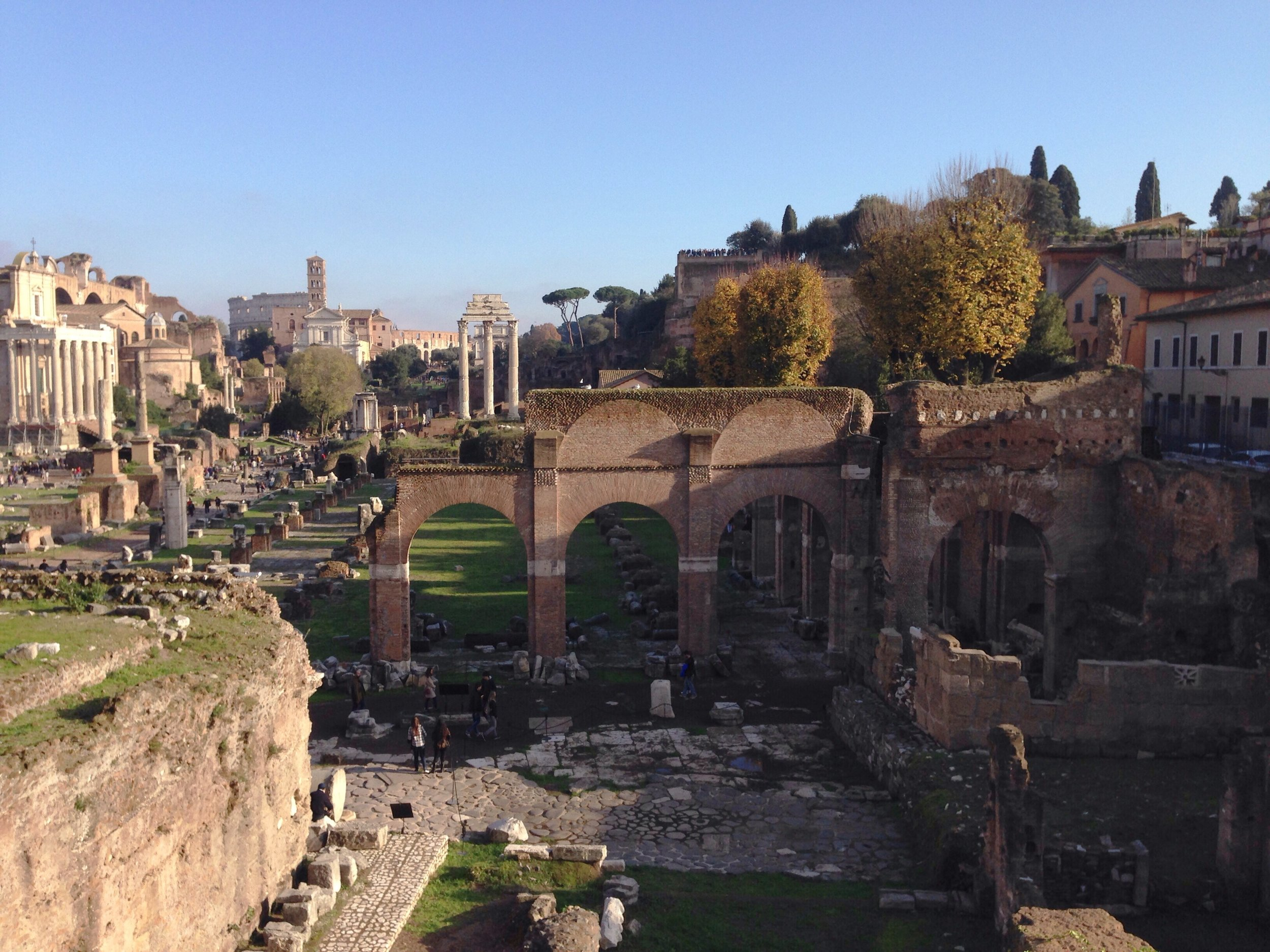 View of the Roman Forum, standing at the Temple of Saturn