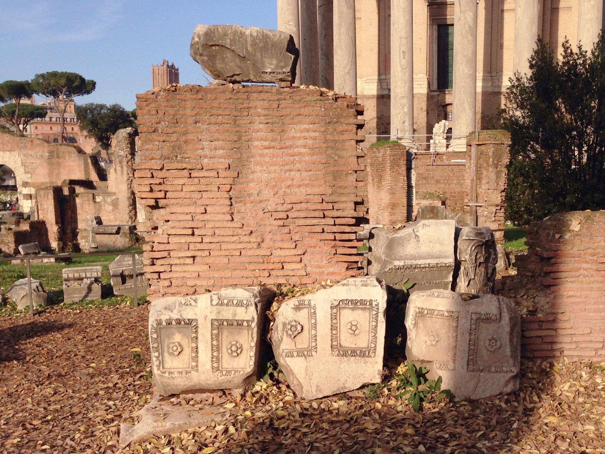 Broken relief work in the Roman Forum, Rome, Italy