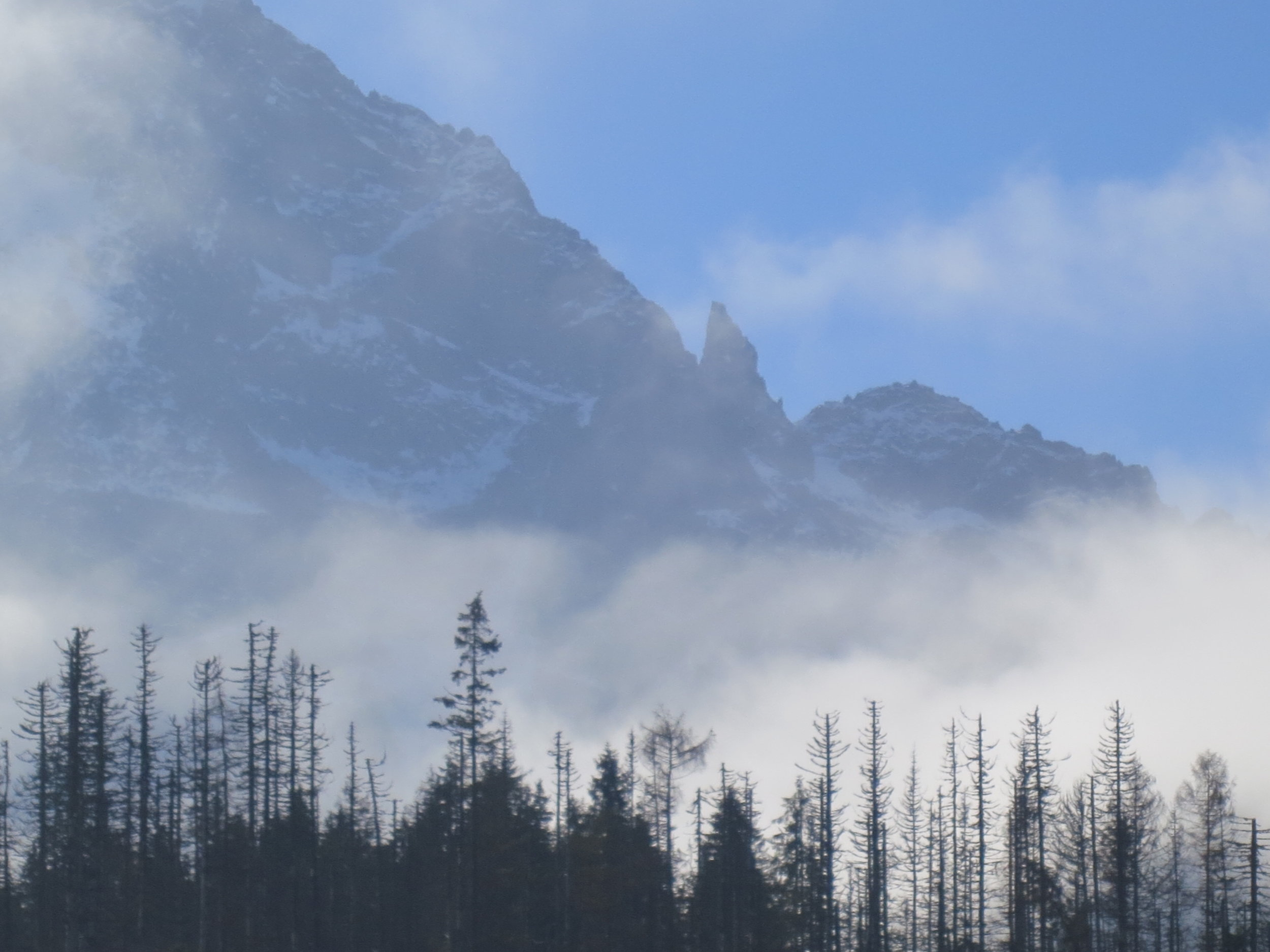 Fog obscures the Tatra Mountains in Southern Poland.