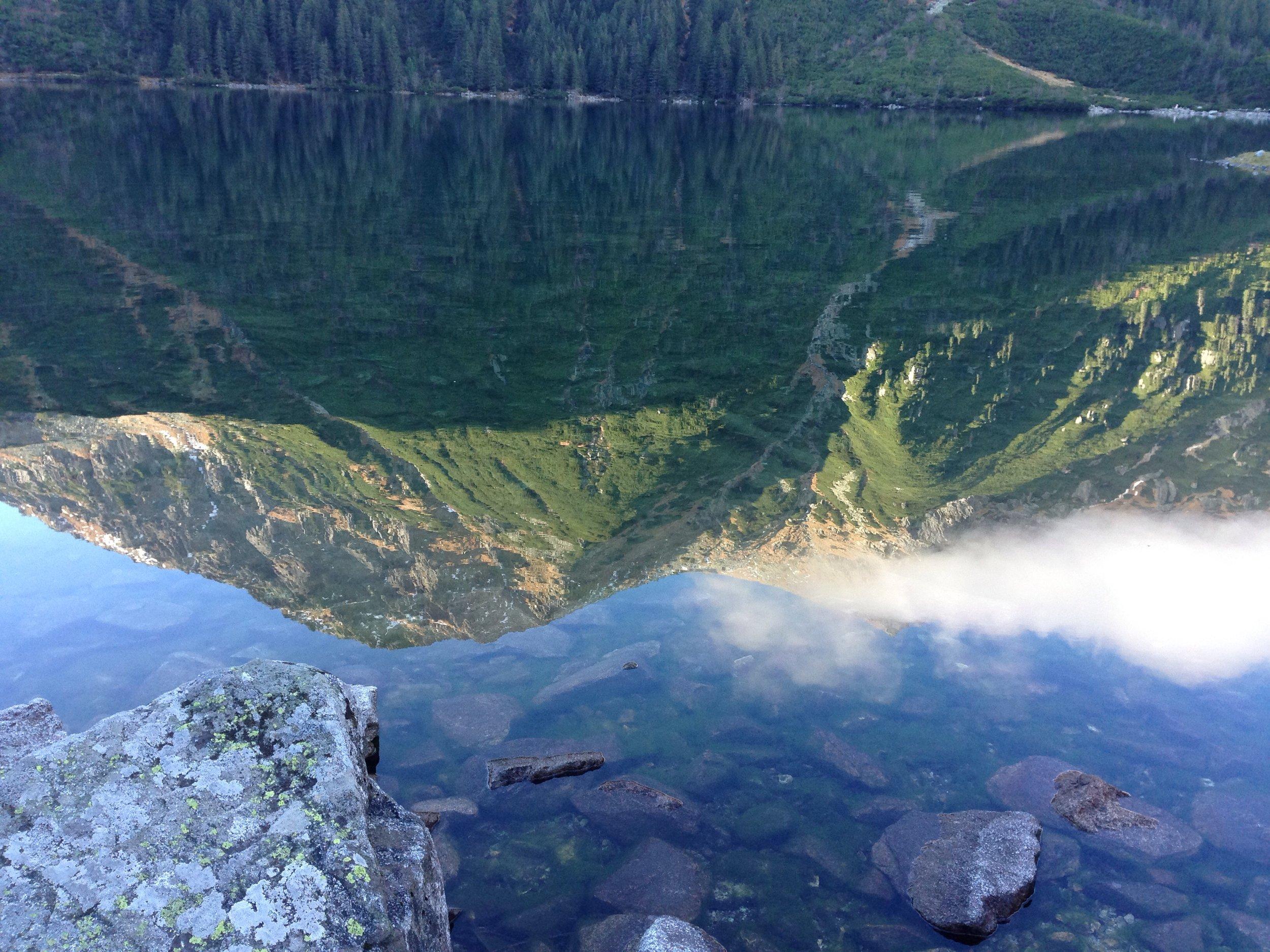 "The Tatra Mountains reflected in Morski Oko, ""The Eye of the Sea"""