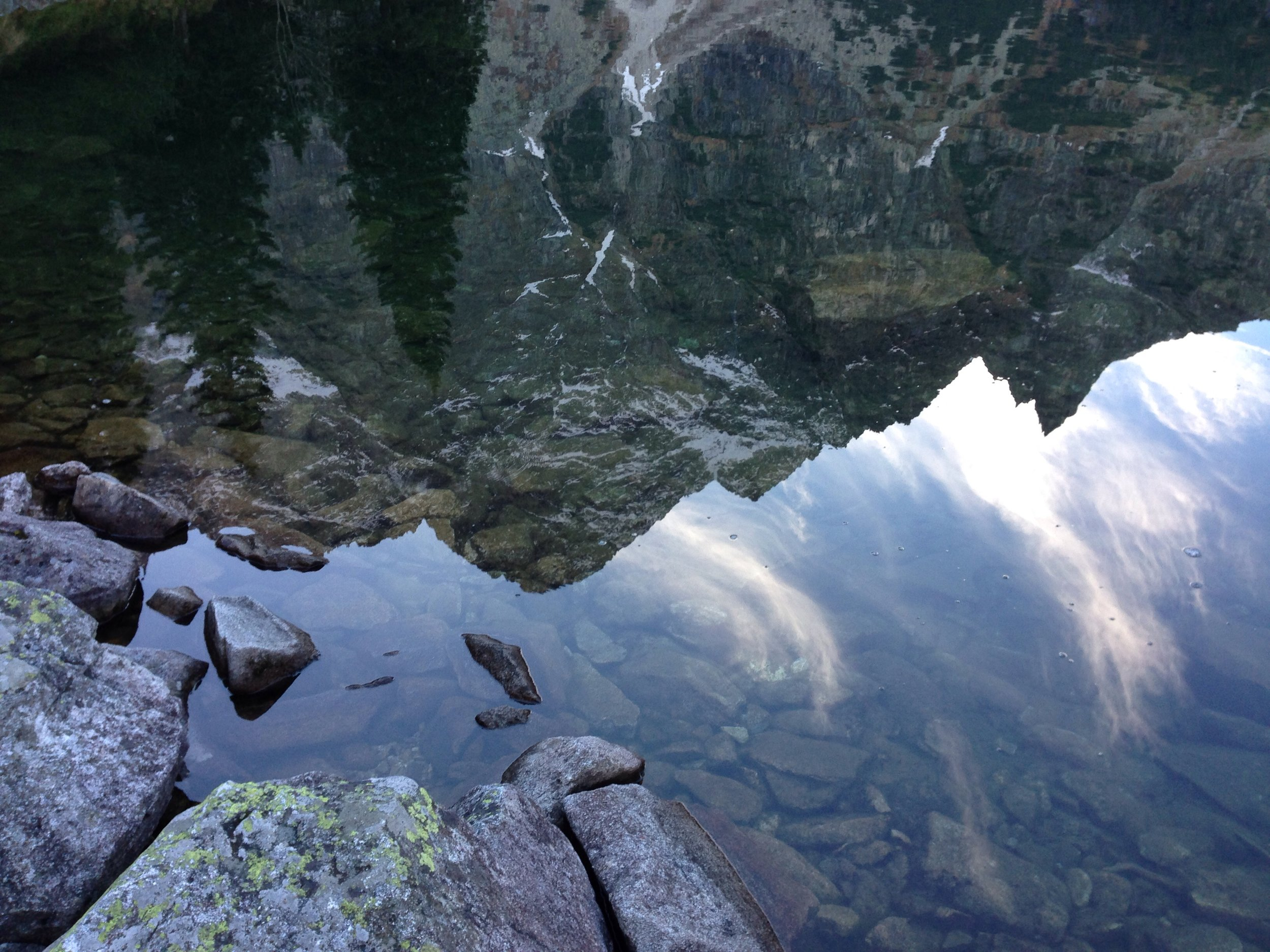 Mountains reflected in Morski Oko, one of the many lakes nestled in the Tatra Mountains