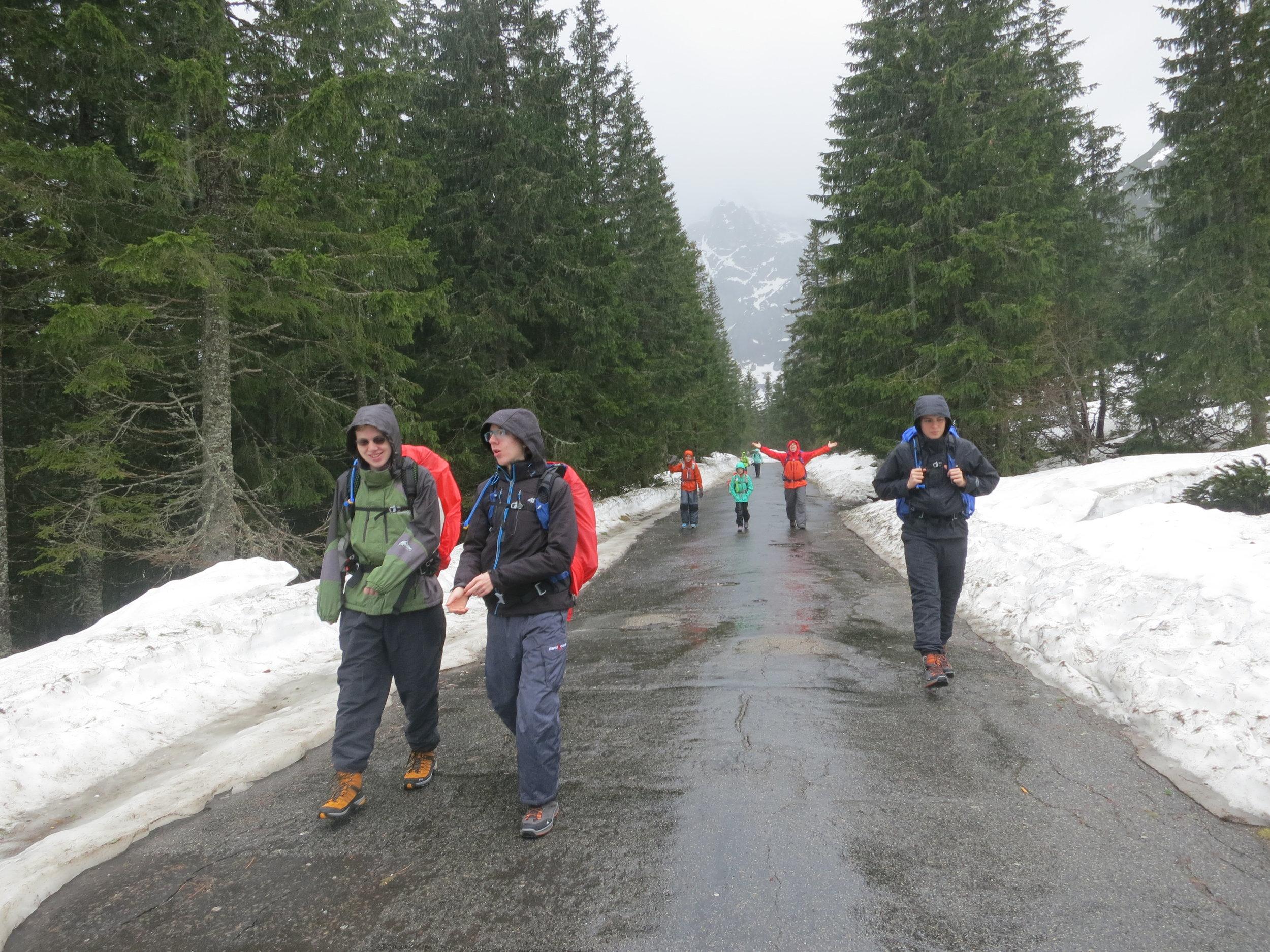 Hiking in the Tatras in the rain.