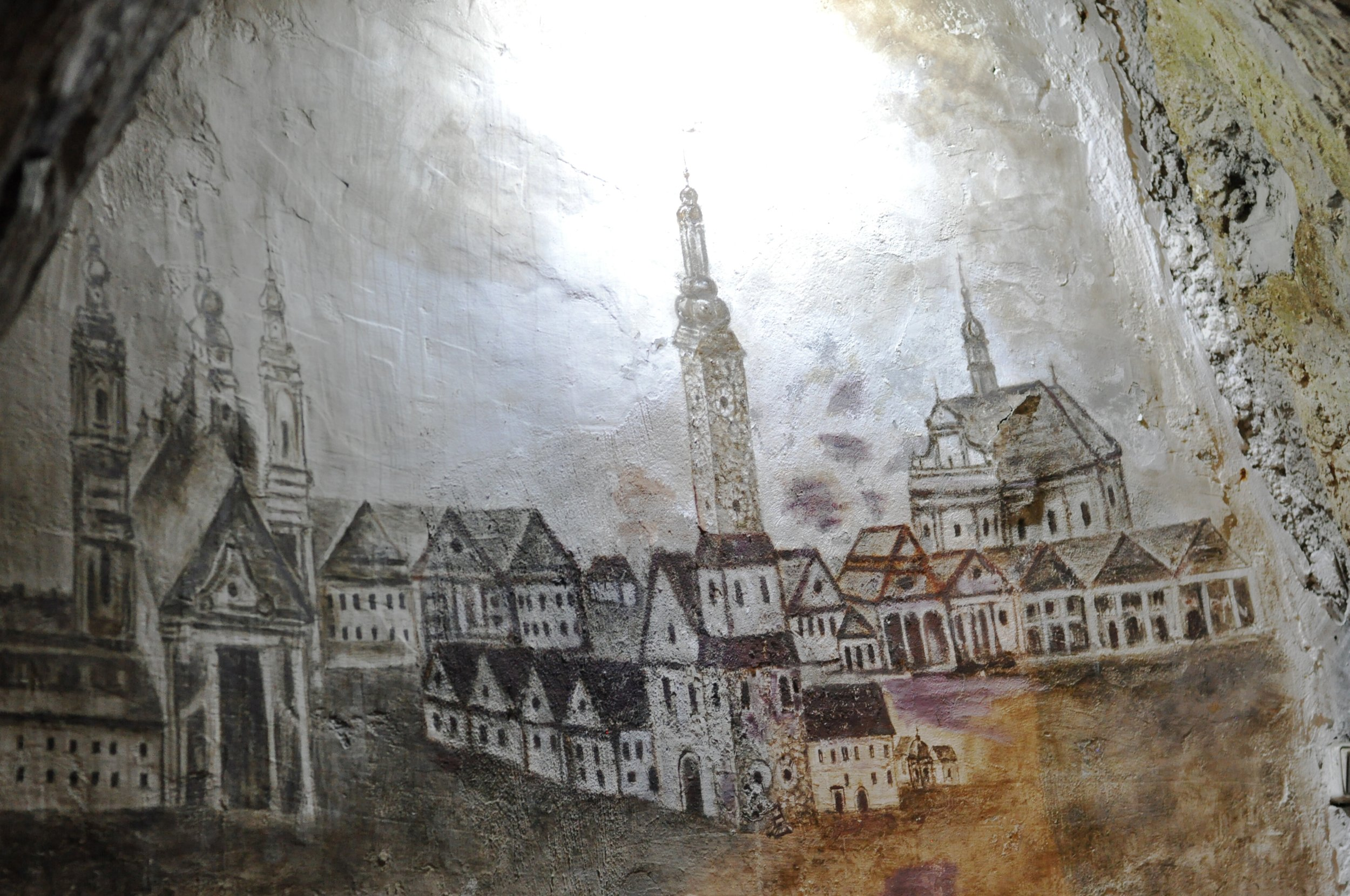 Mural inside the Chalk Mines in Chelm, Poland
