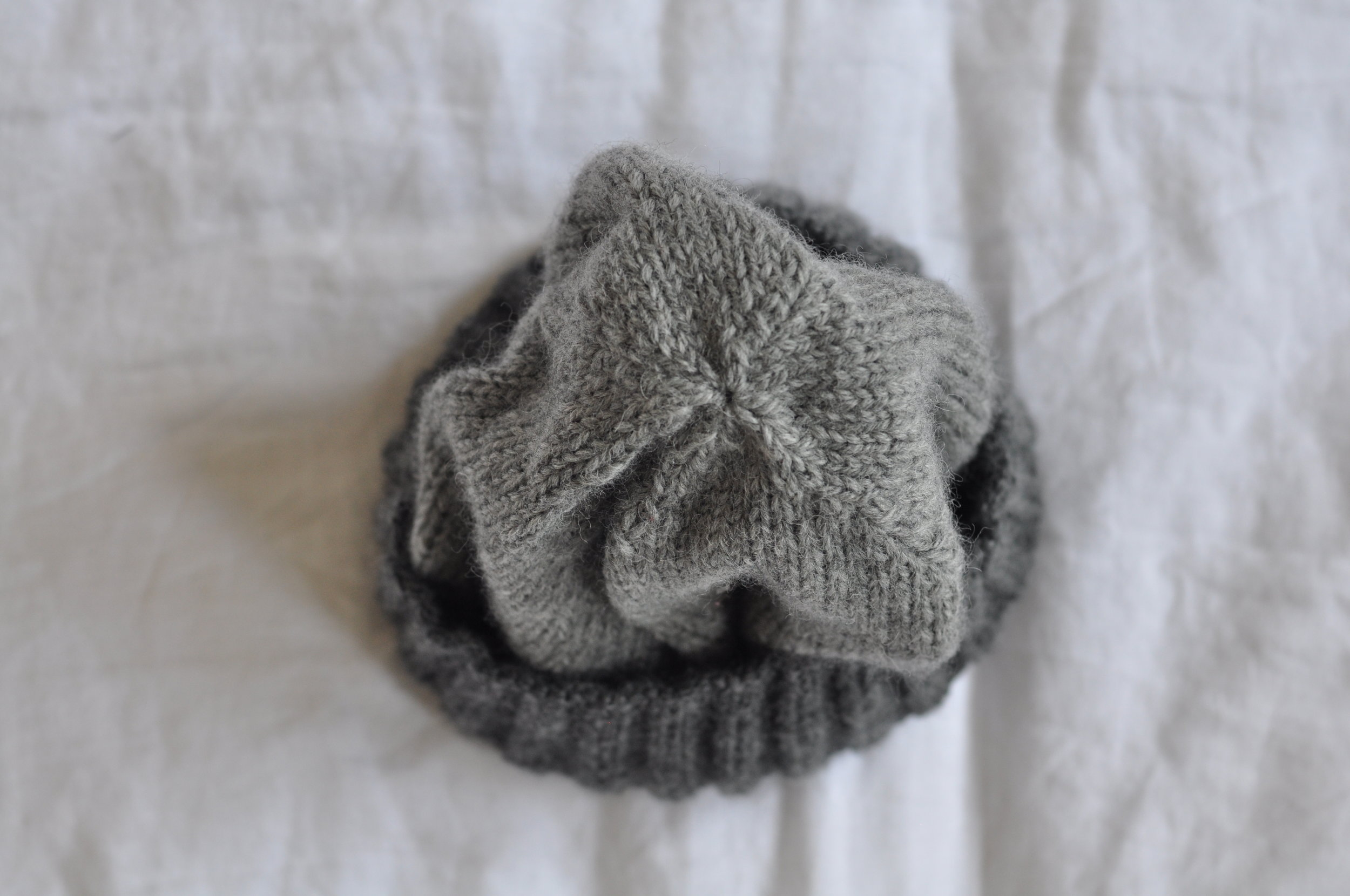 Grey wool knitted hat