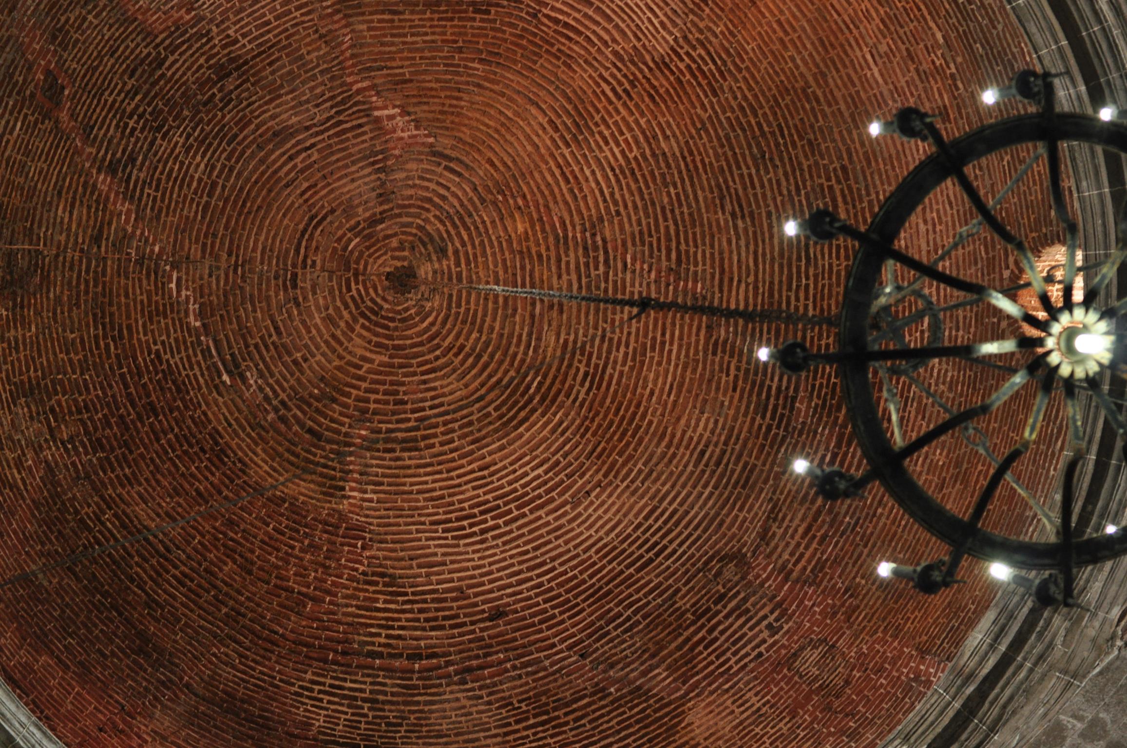Spiral bricks and candelabra in dome of San Agustin Church, Intramuros, Manila Philippines