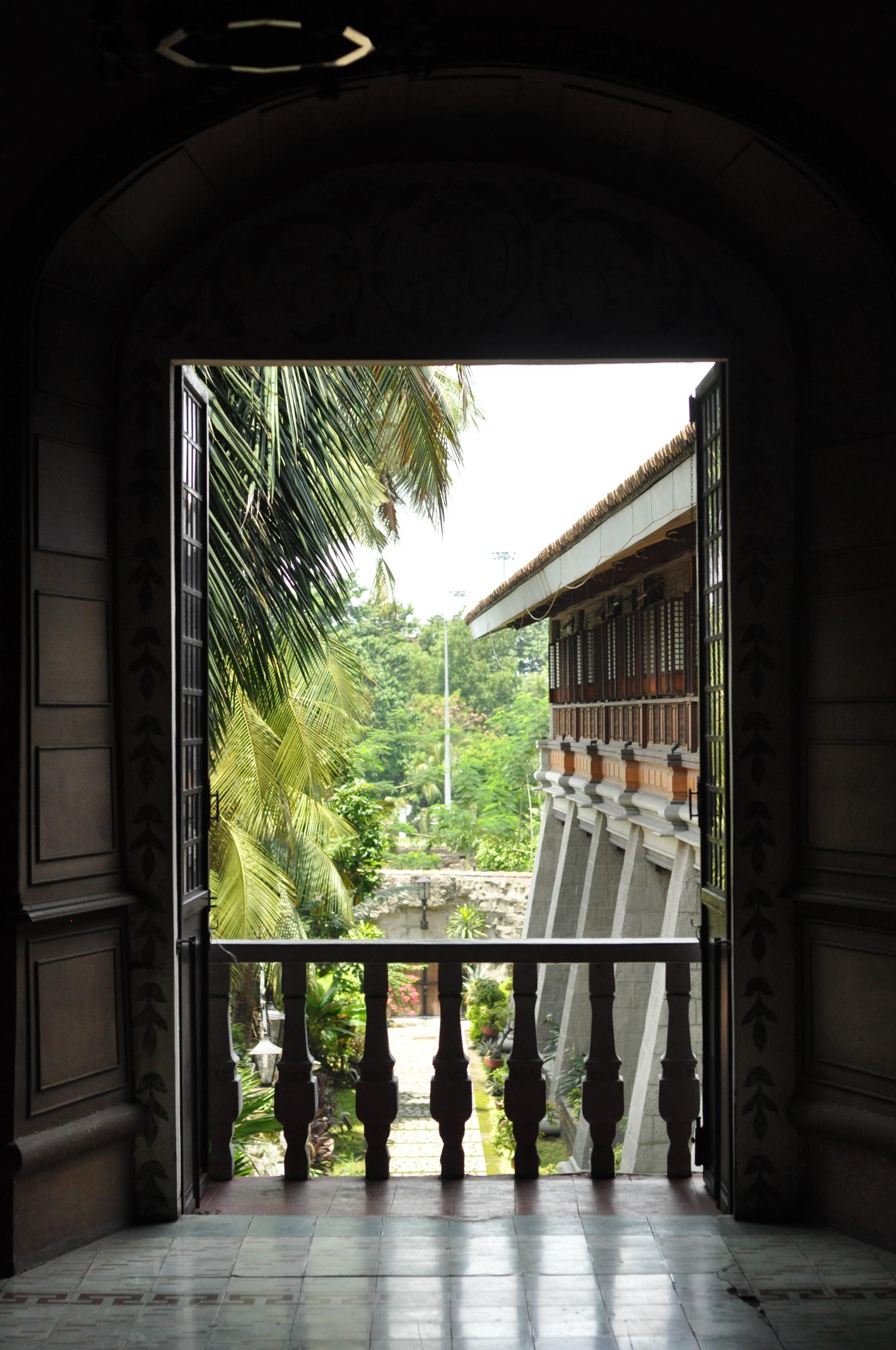 View into the courtyard in San Agustin Church, Intramuros, Manila Philippines