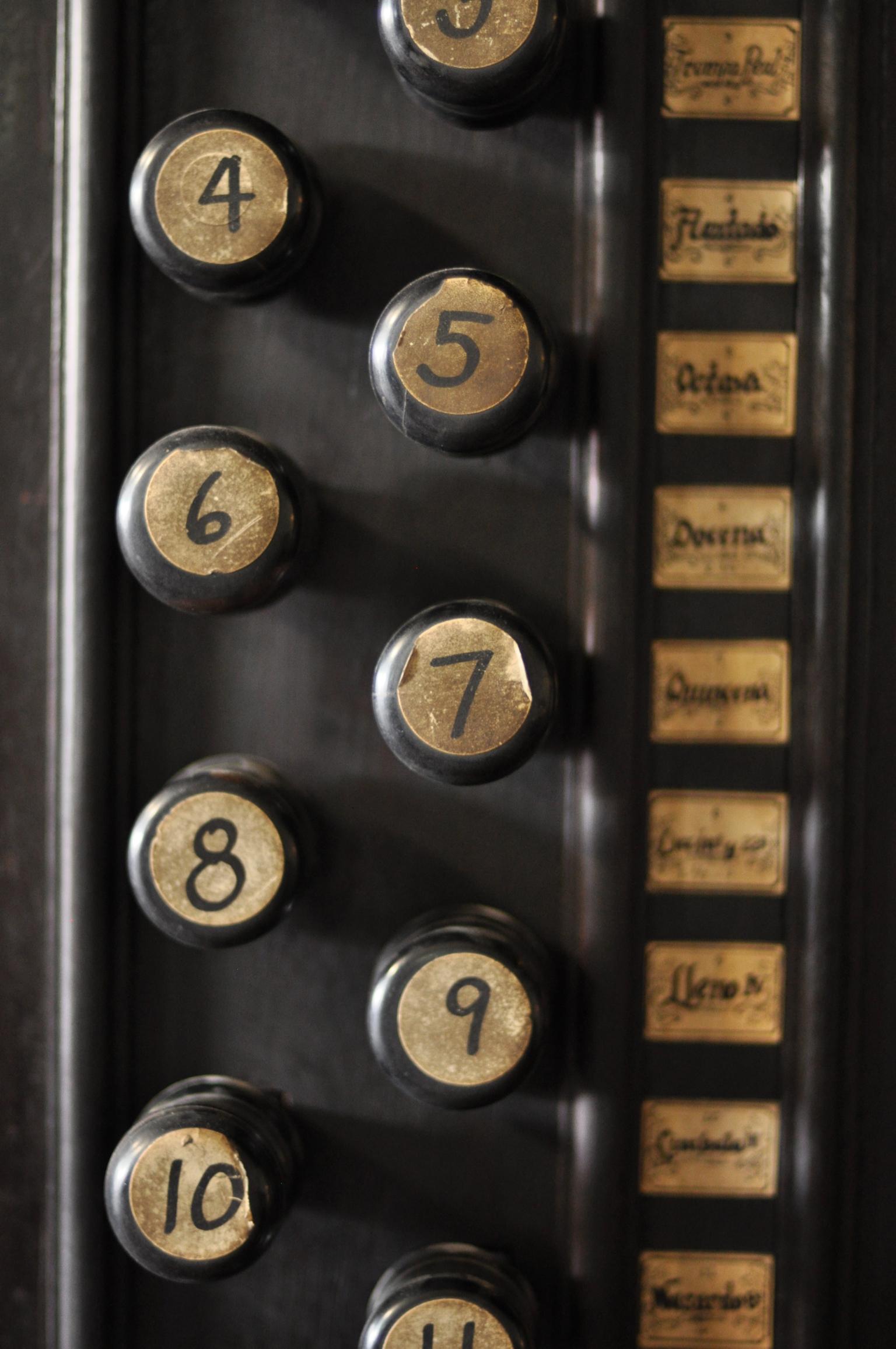 Organ knobs at San Agustin Church, Intramuros, Manila Philippines