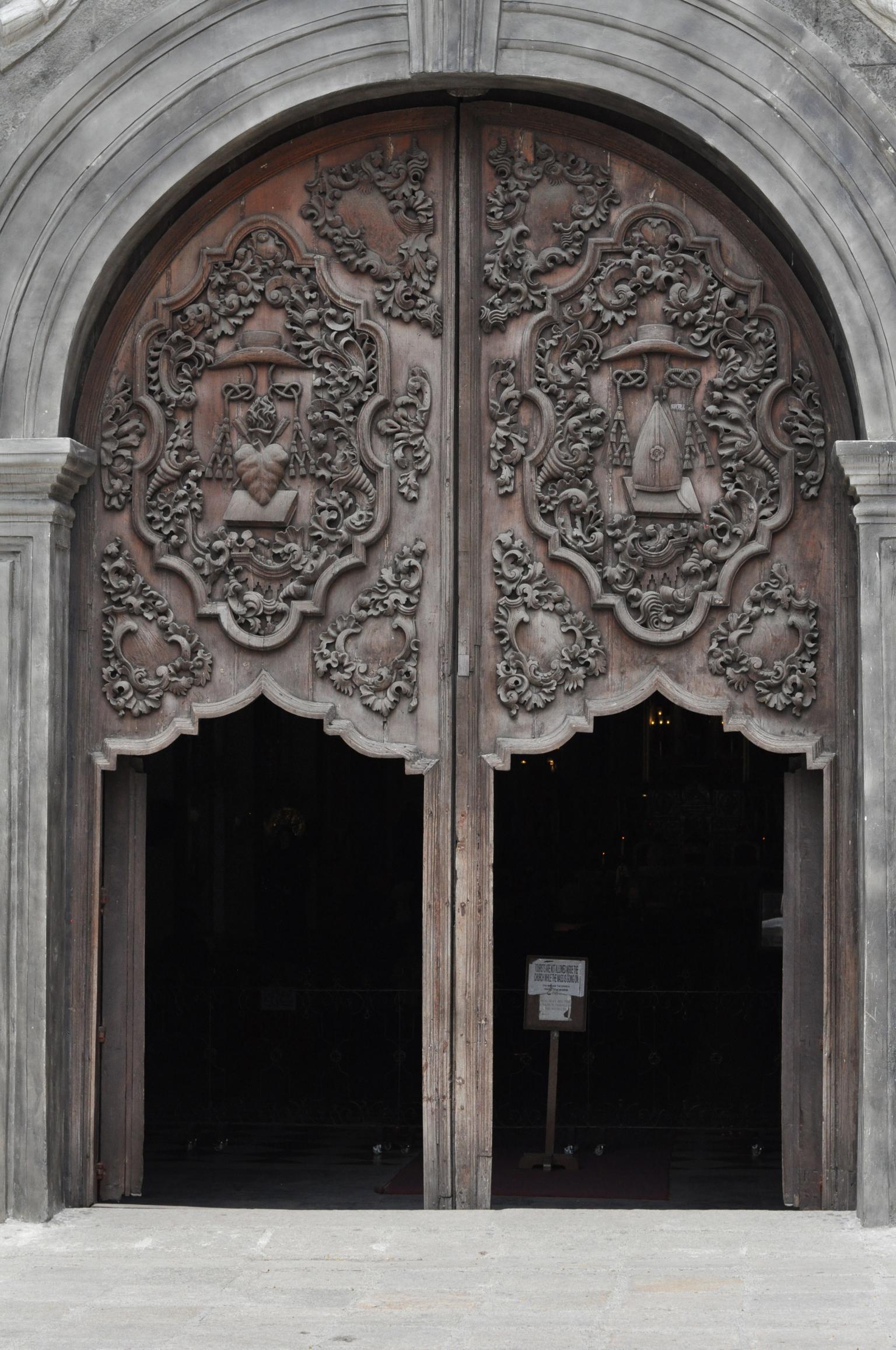 Wooden doors of San Agustin Church, Intramuros, Manila Philippines
