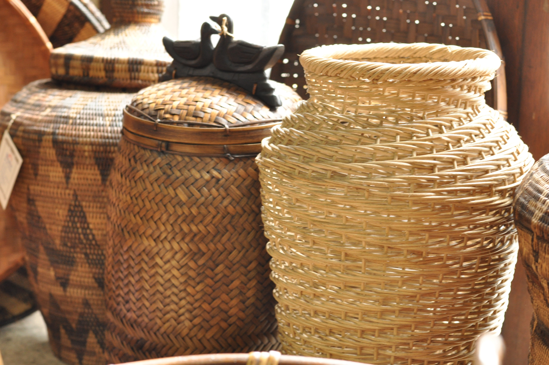Traditionally woven baskets for sale Intramuros, Manila, Philippines