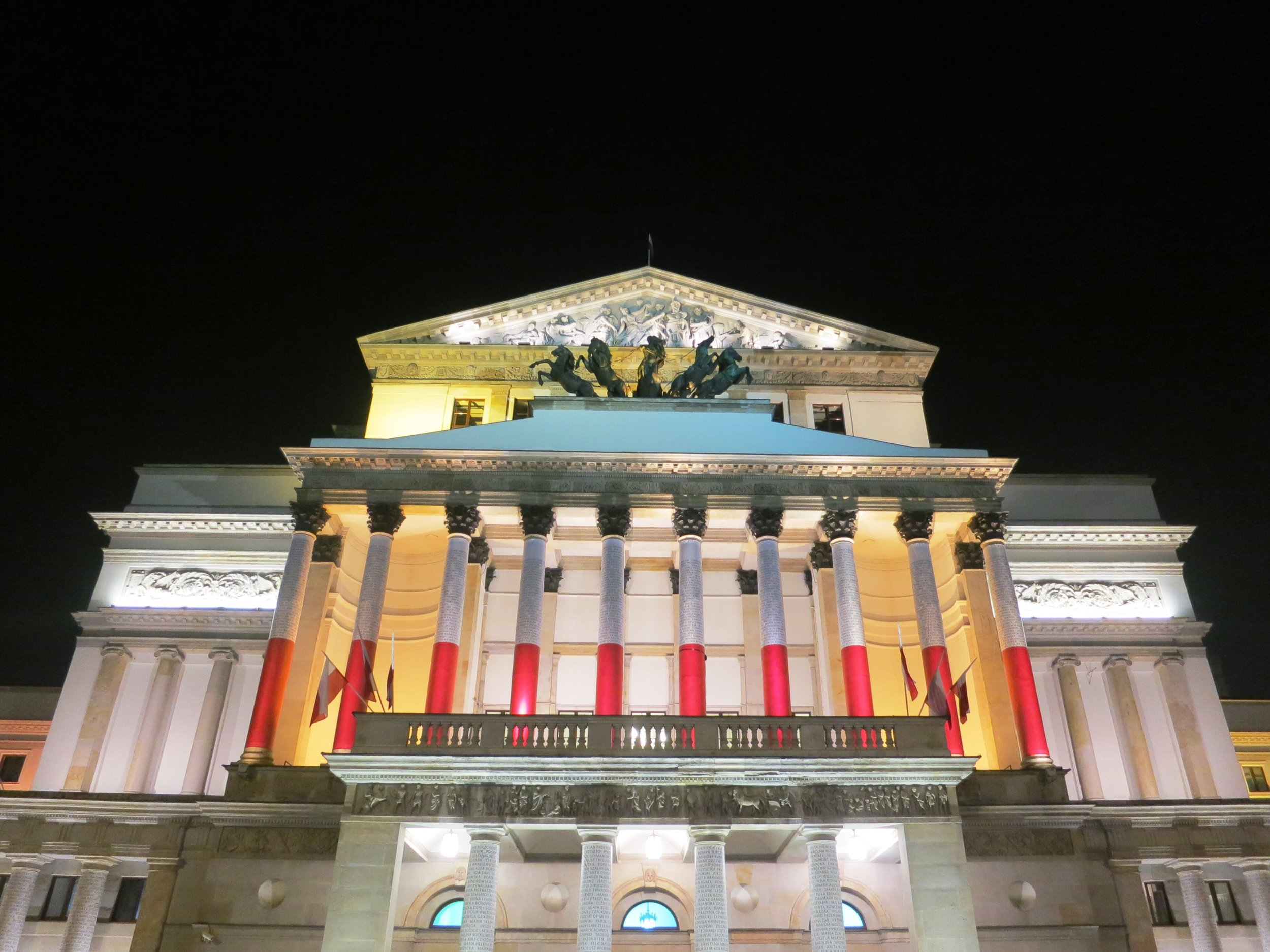 National building in Warsaw, Poland decorated for Independence Day November 11, 2018