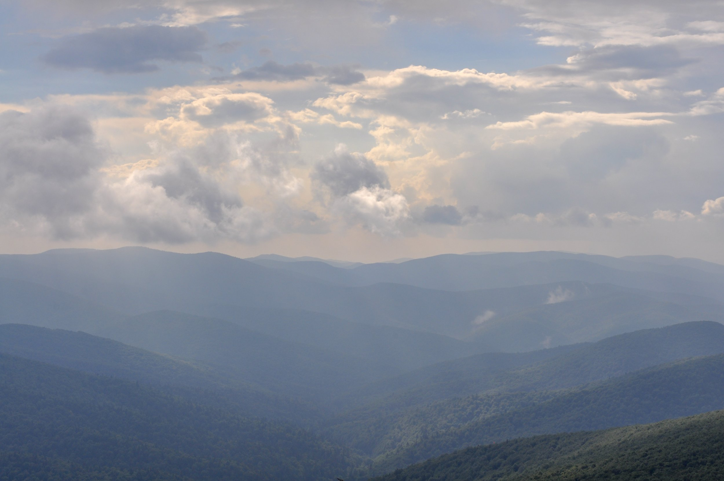 Views of mountains and valleys on the Tri-Border hike in the Bieszcady Mountains