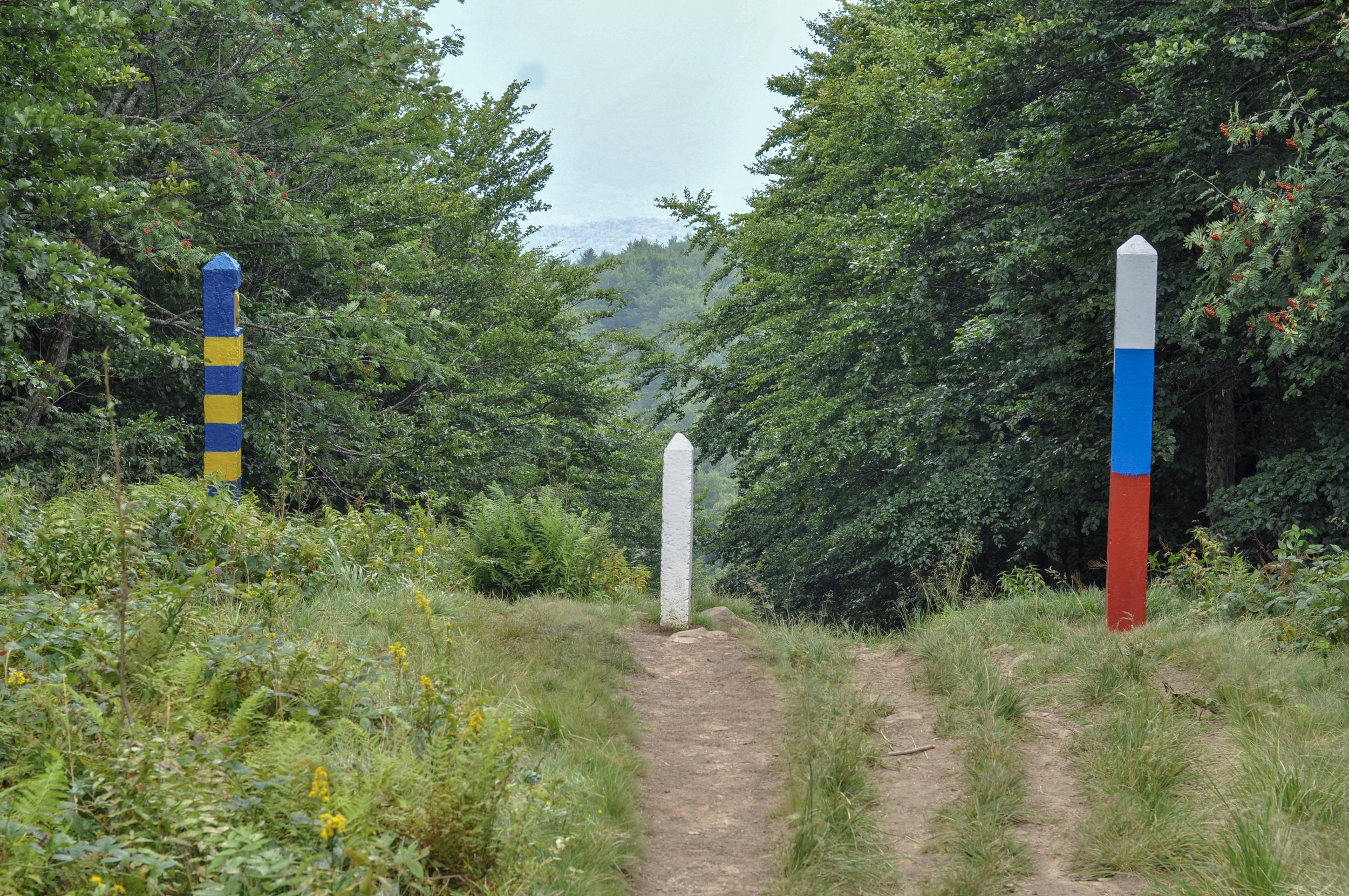 Markers for the Ukrainian and Slovakian borders at the the Tri-Border point in the Bieszcady Mountains