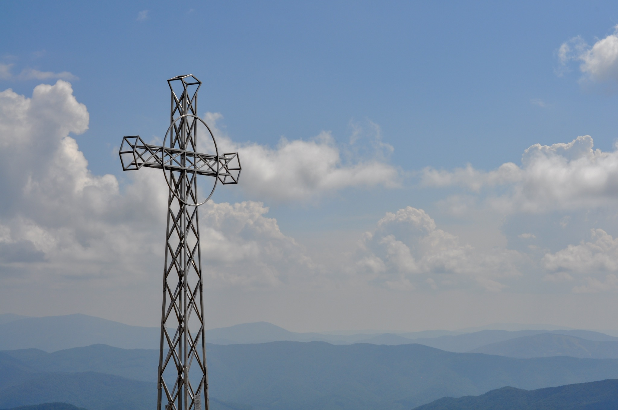 Cross at the summit of Tarnica, in the Bieszczady Mountains