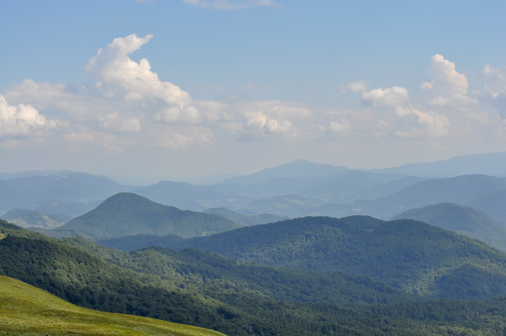 View into Ukraine from the red hiking trail to Tarnica