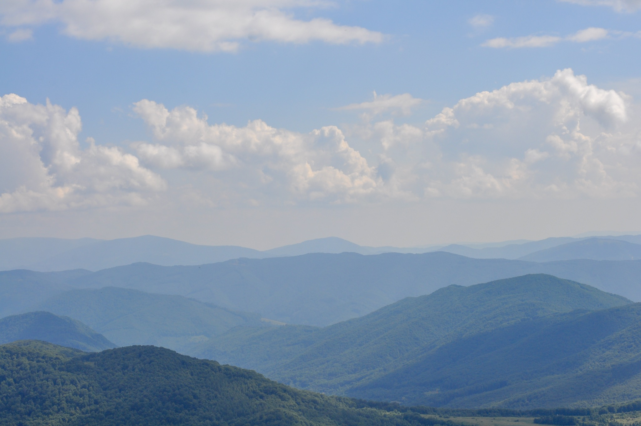 Bieszczady mountains viewed from the red trail to Tarnica