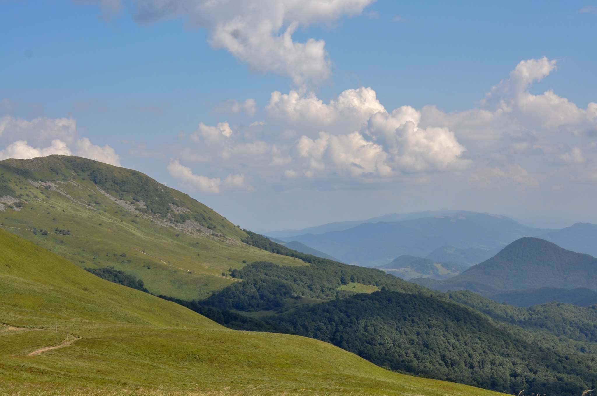 Poloniny and valleys in the Bieszczady Mountains