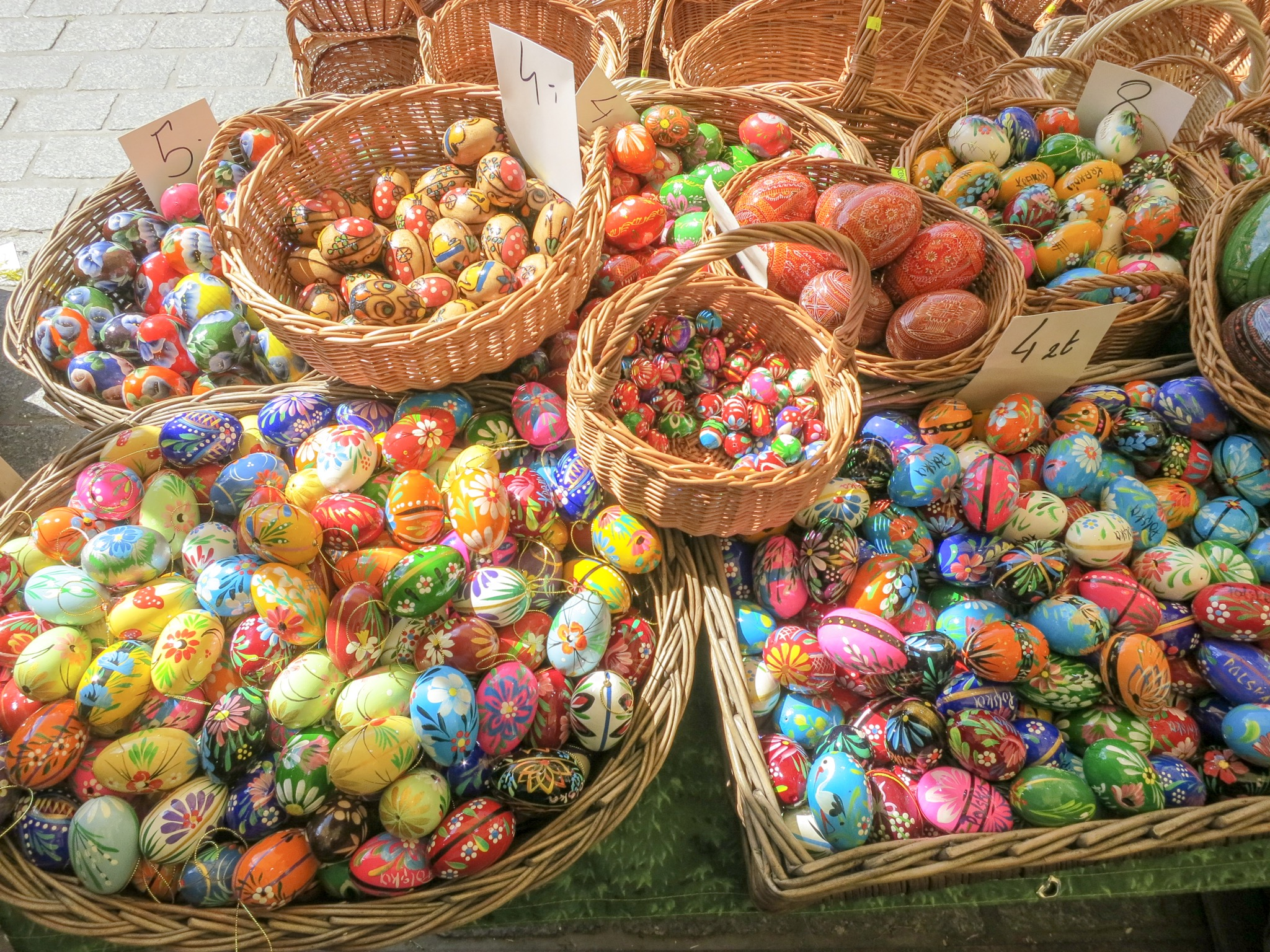 Painted wooden eggs at the Krakow Easter Market