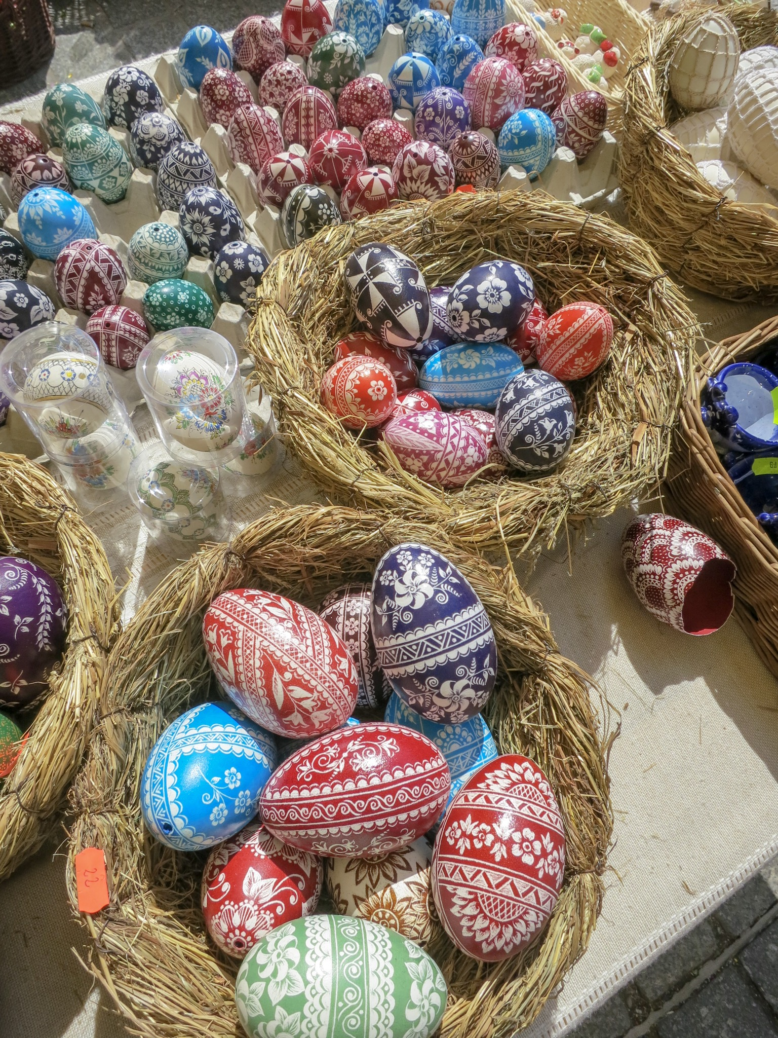 Intricately painted chicken and duck eggs