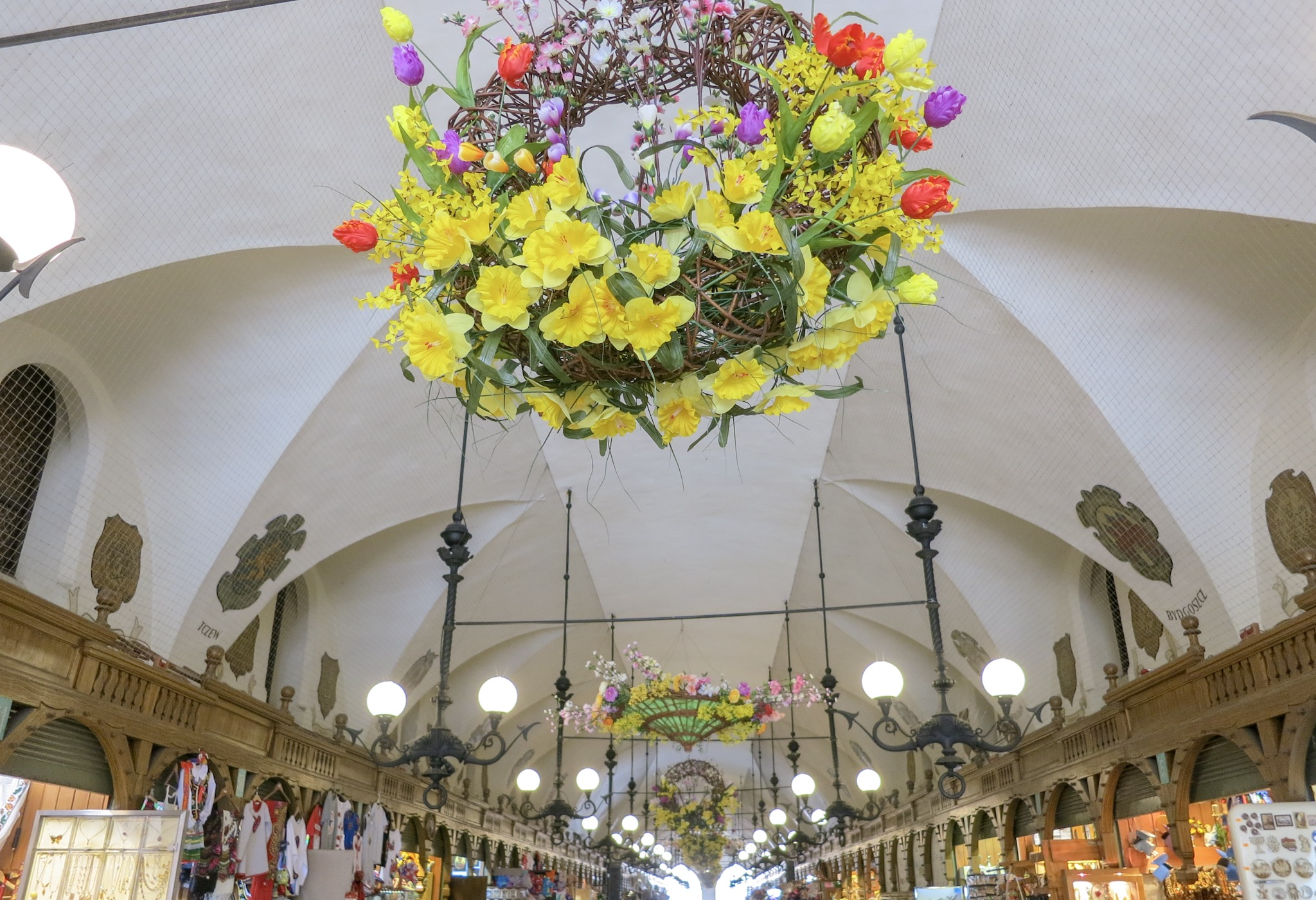 Krakow's Cloth Hall decorated with wreaths for Easter