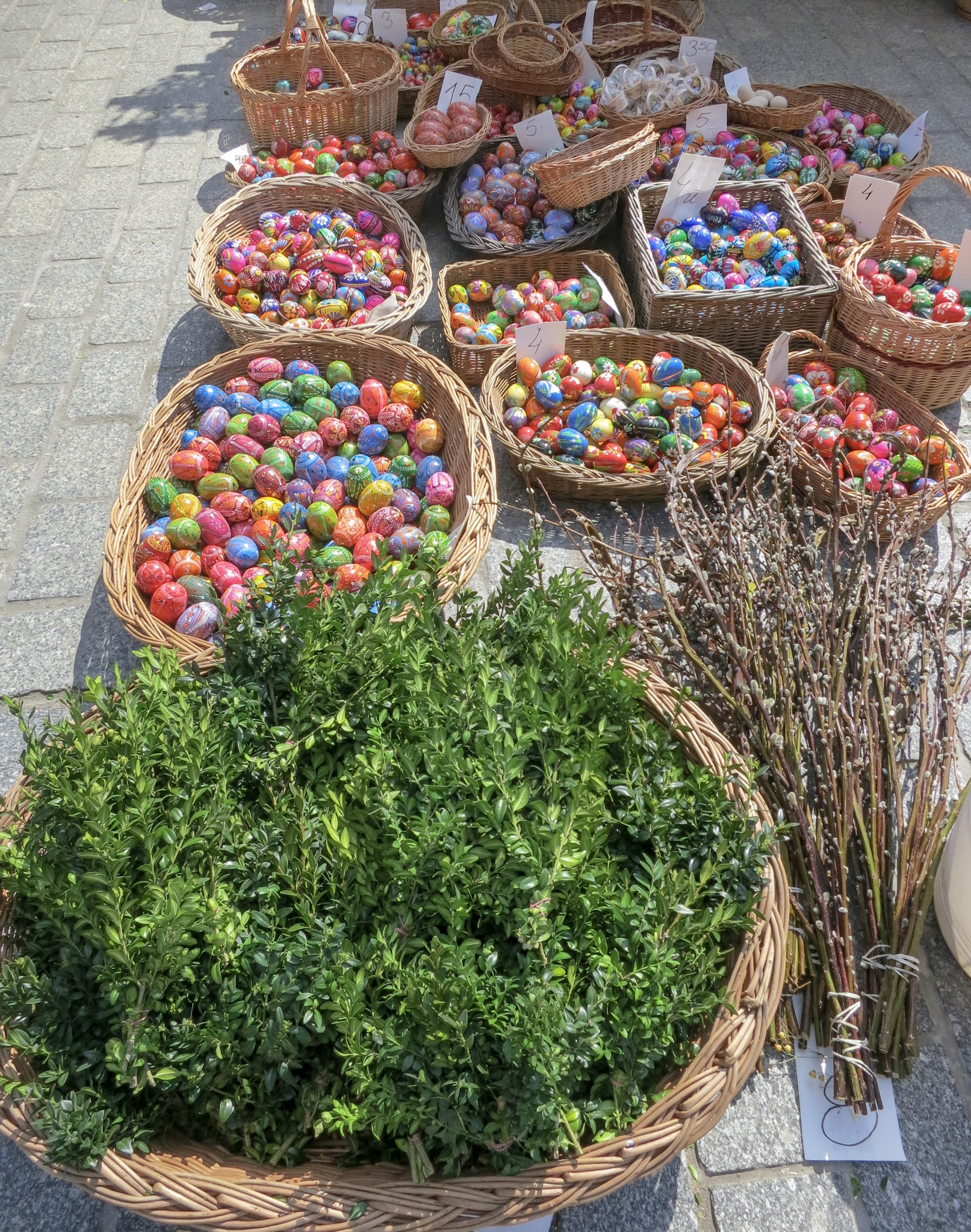 Pisanki displayed in baskets at Krakow's Easter Market