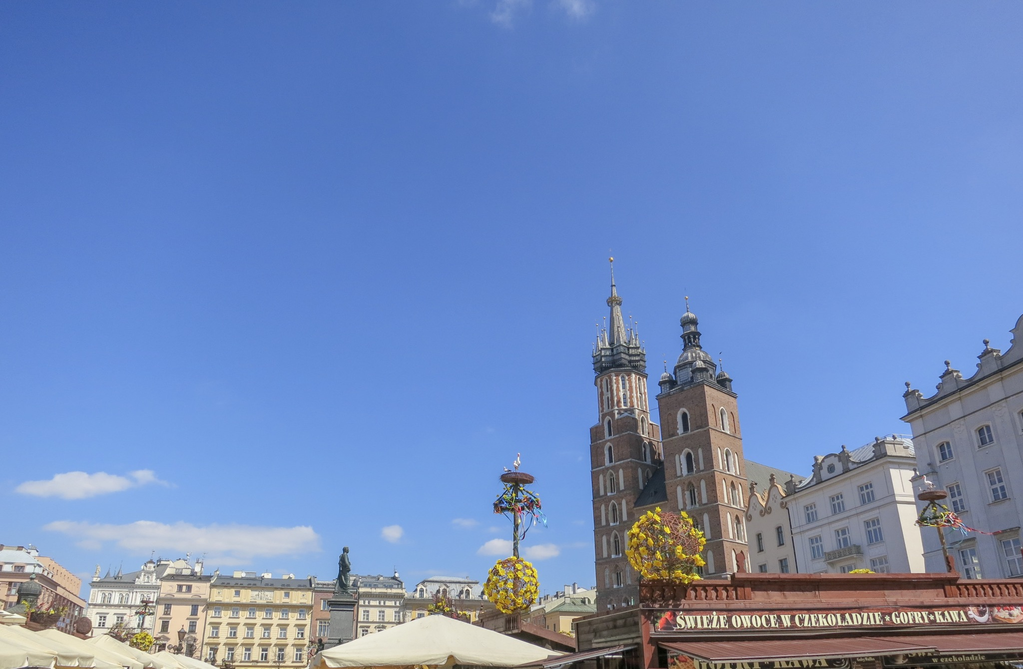 St. Mary's Church at the end of the Krakow Easter Market