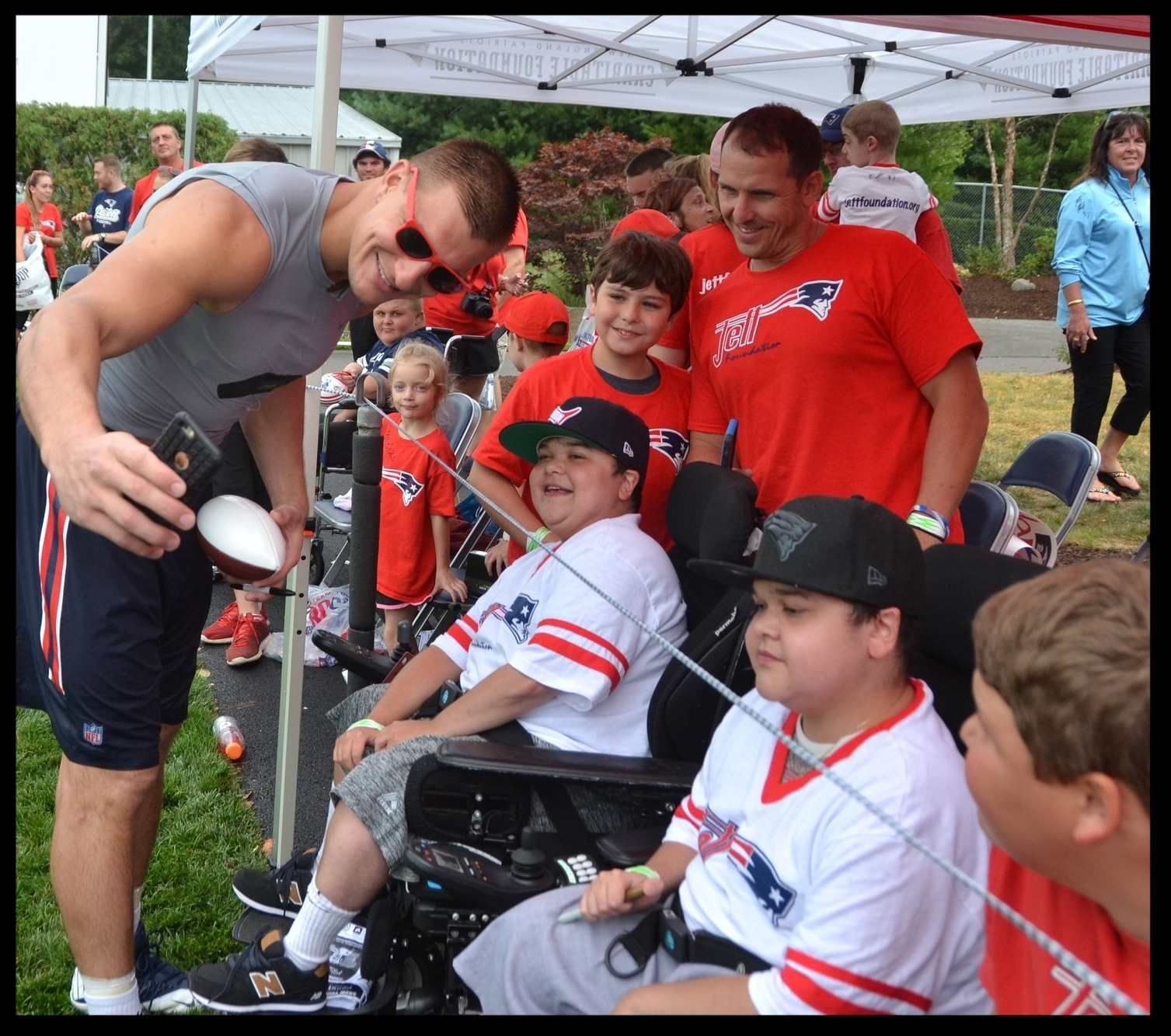 Coach Belichick hanging with the Duchenne community!