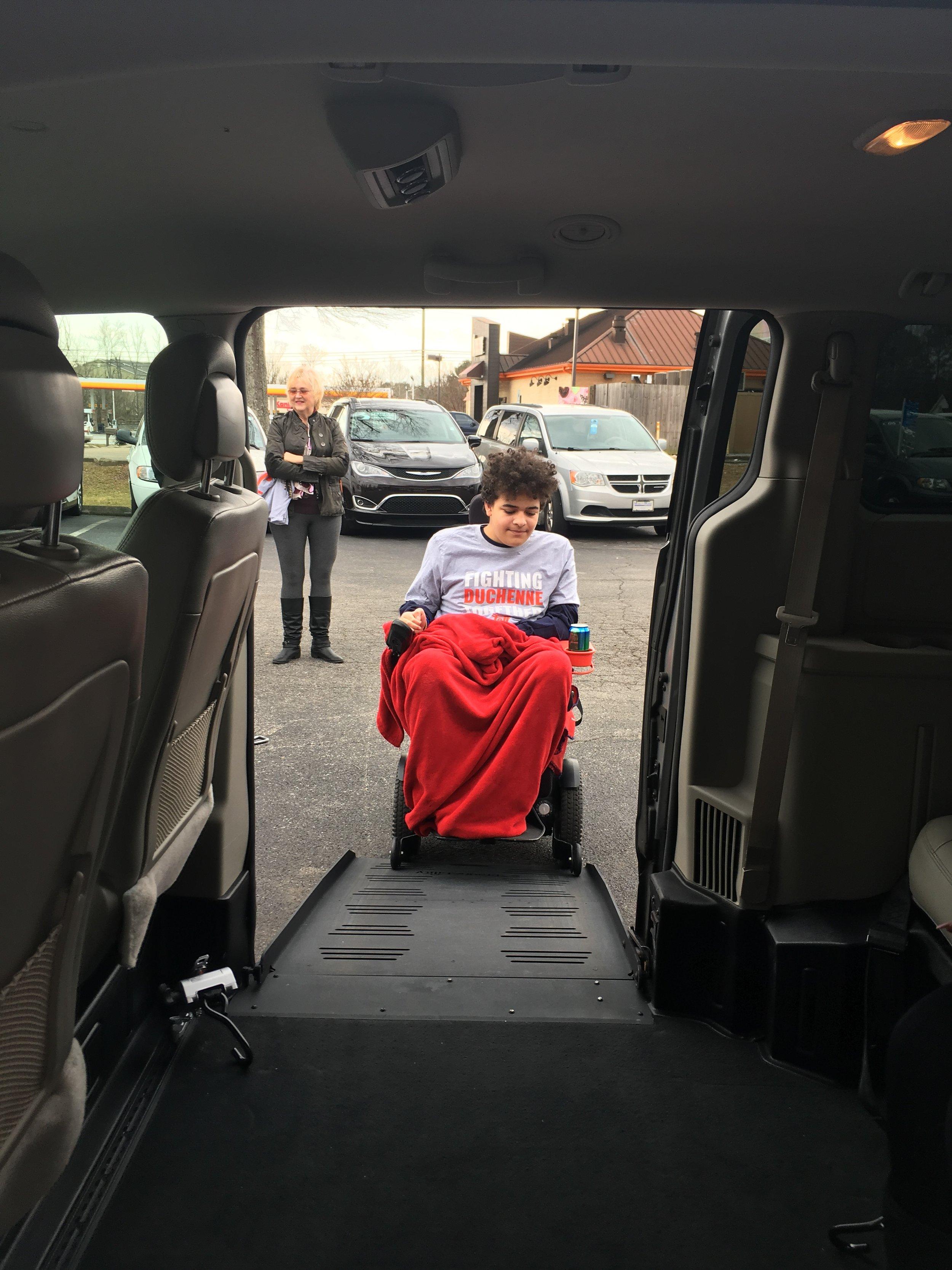 Nolan testing out the van's ramp.