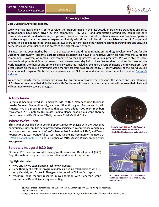 Sarepta Q3 Newsletter